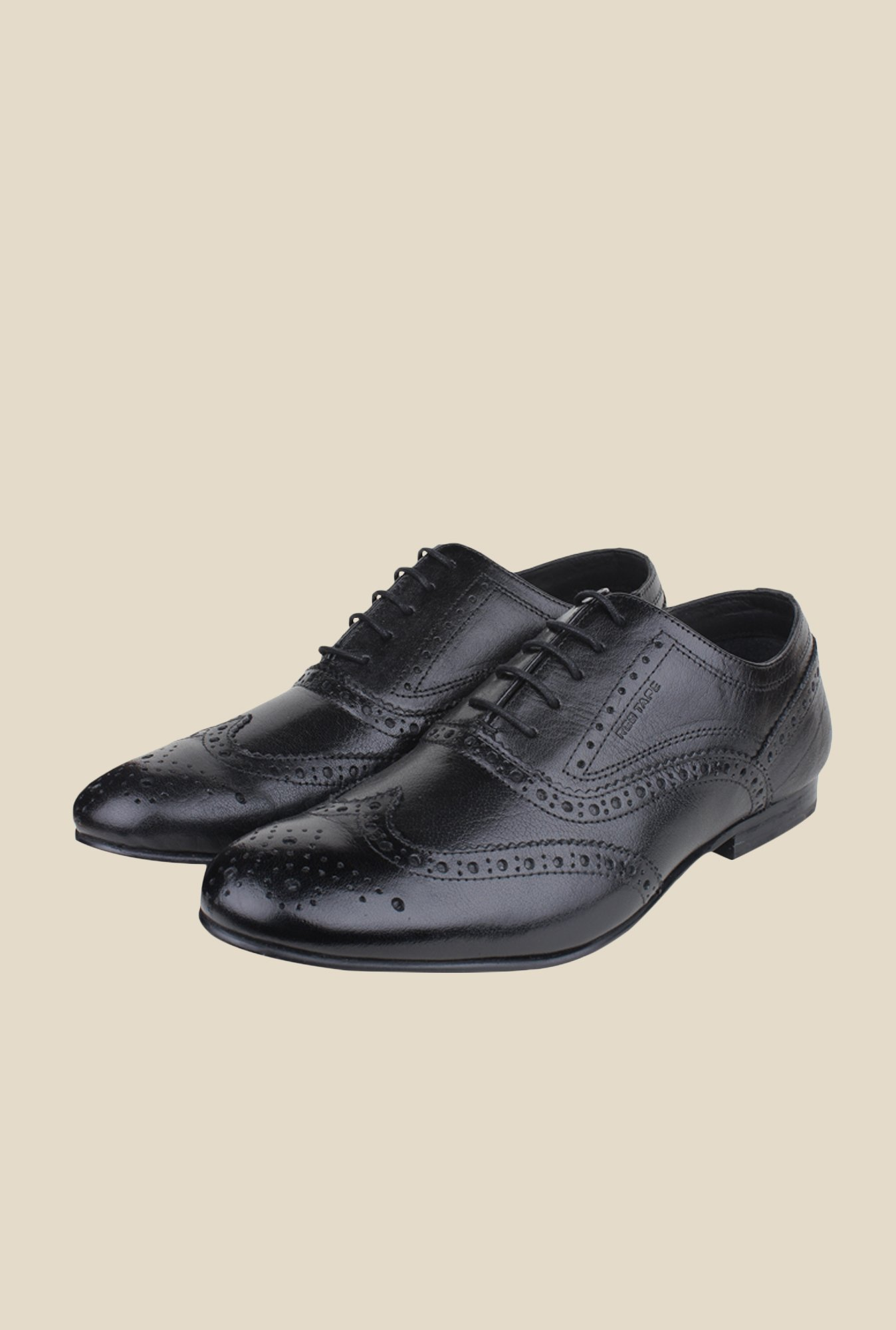 Red Tape Black Brogue Shoes