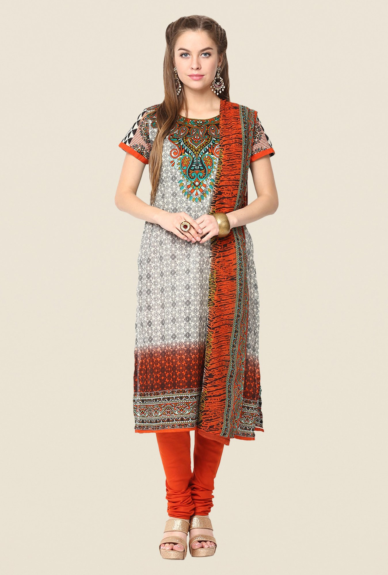 Yepme Grey & Orange Baiely Salwar Kameez Set