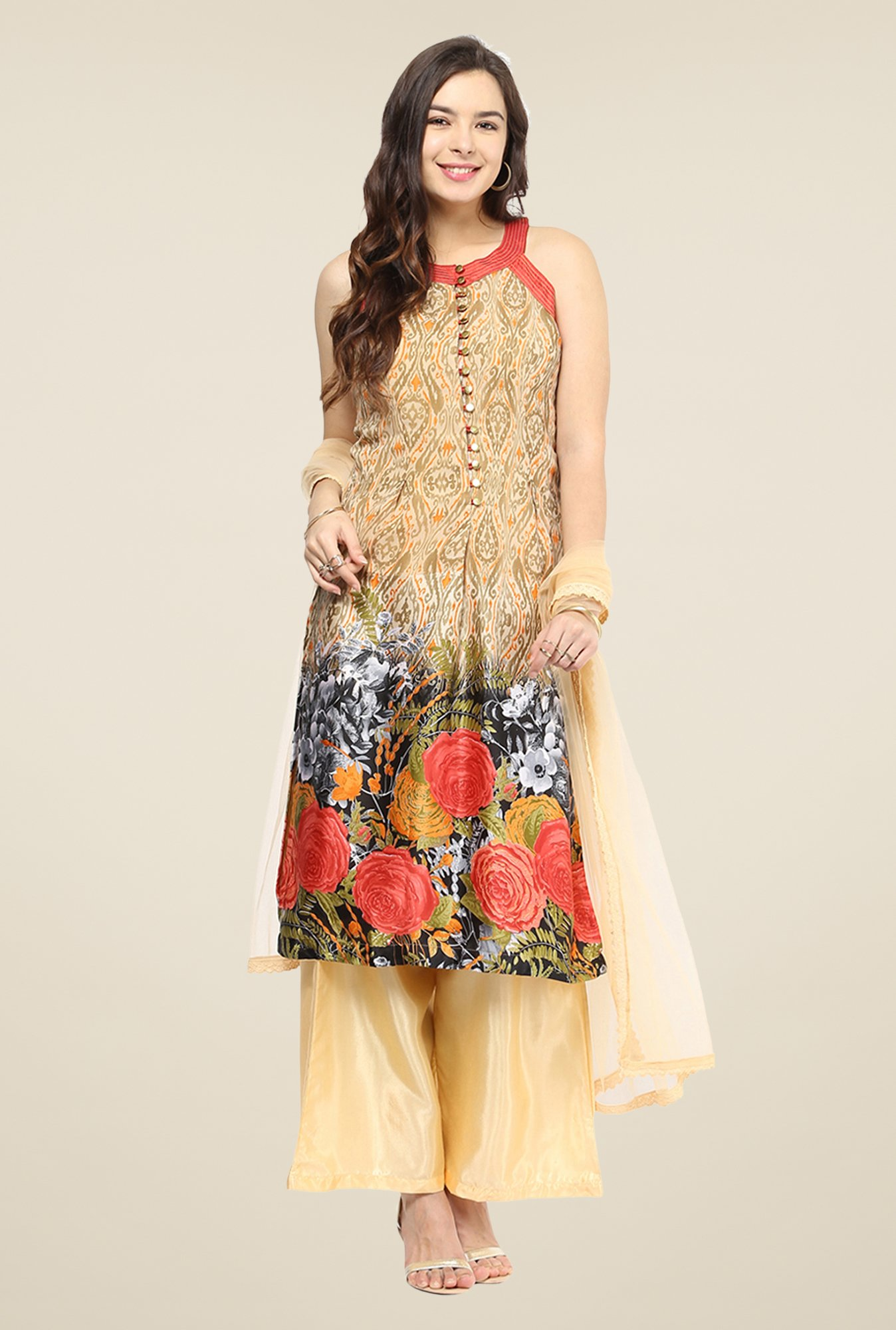 Yepme Yesenia Beige & Orange Salwar Suit Set