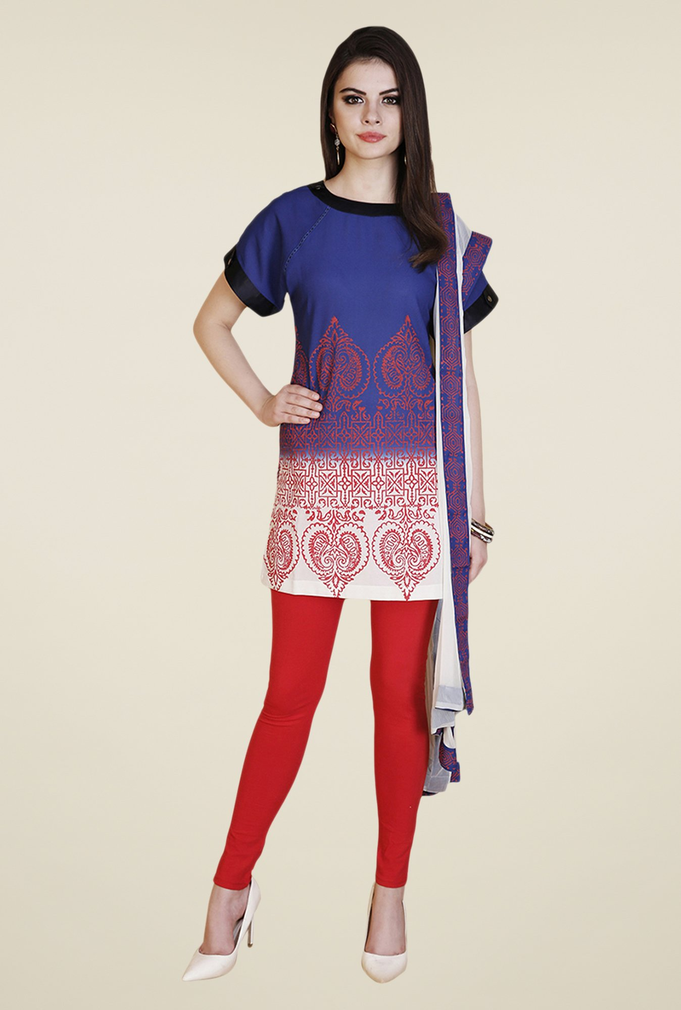 Yepme Blue & Red Vendeta Kurti Set