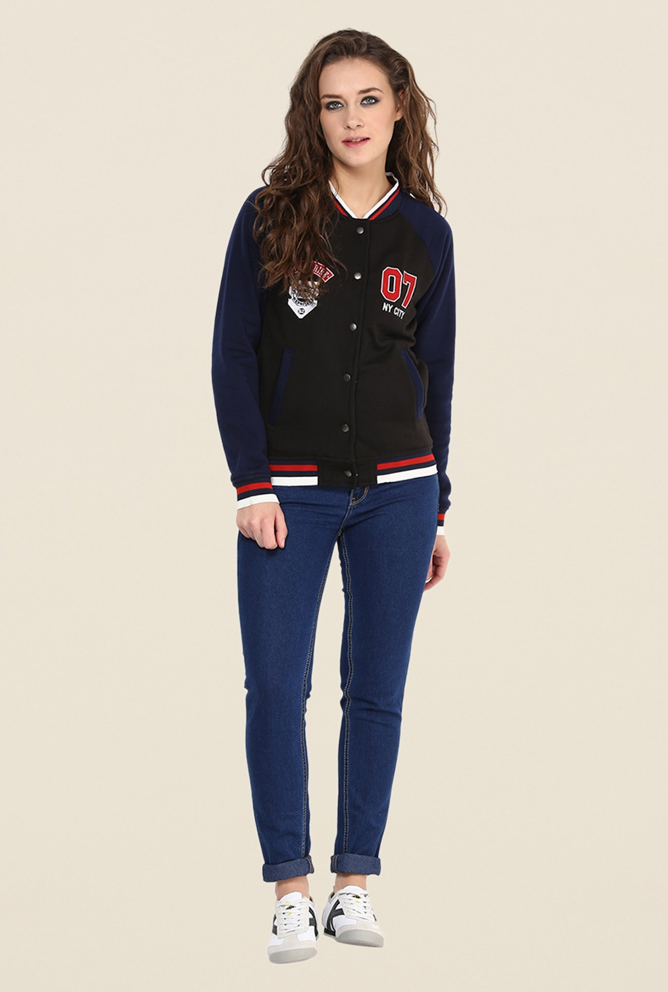 Yepme Black & Blue Cindy Full-sleeved Jacket
