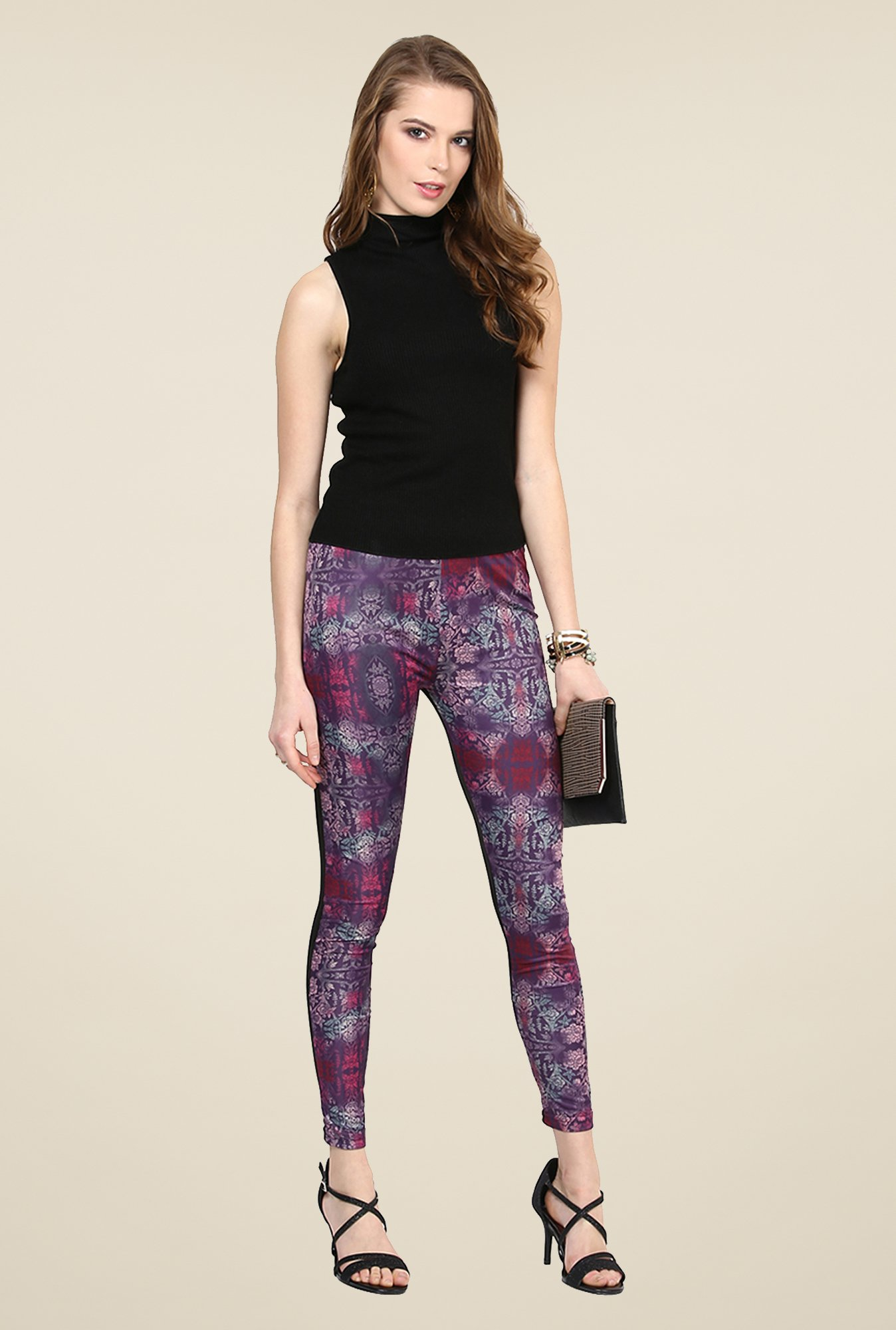 Yepme Ellise Purple & Black Party Leggings