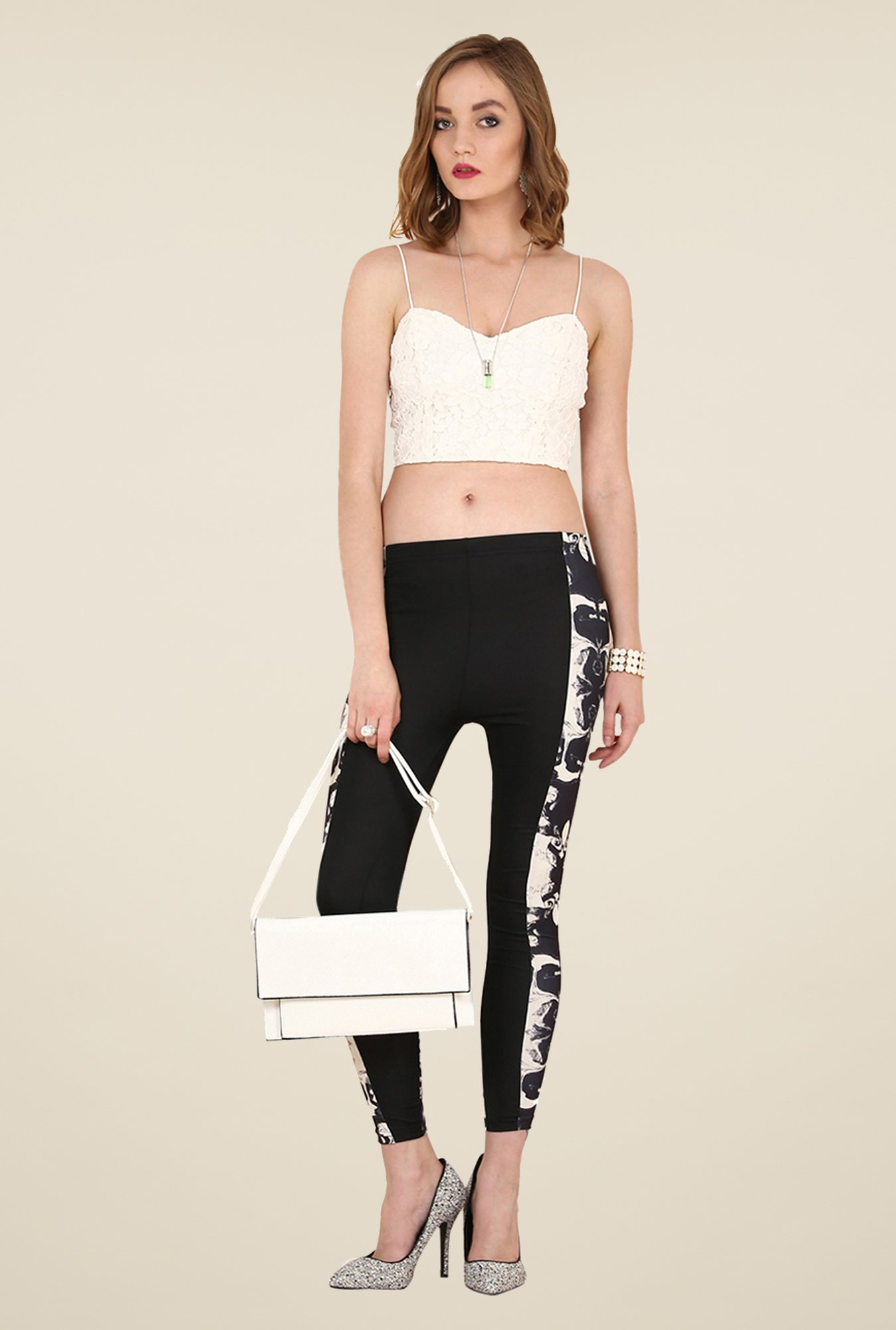 Yepme Jackui Black & White Party Leggings