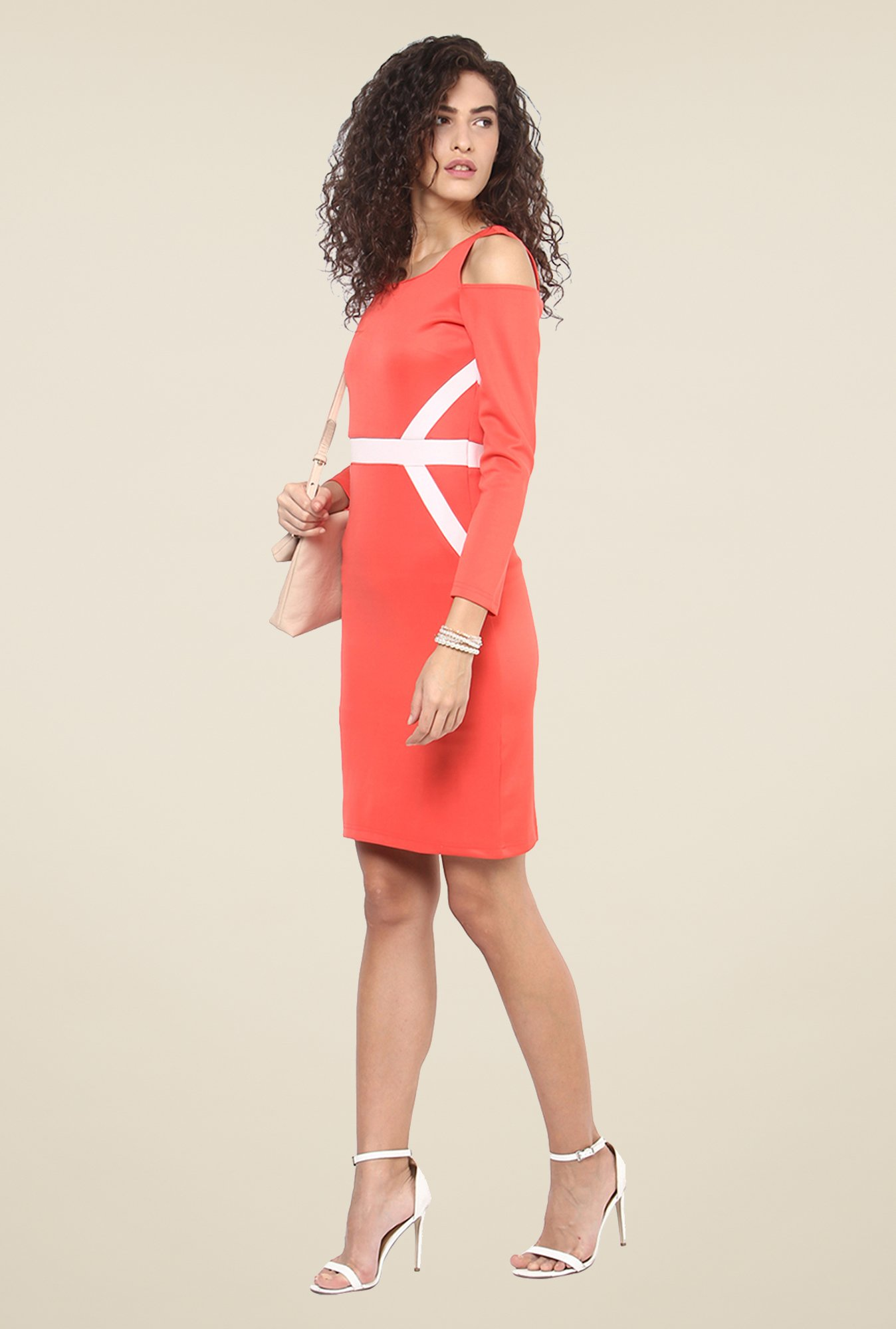 Yepme Coral Cut Out Bodycon Dress