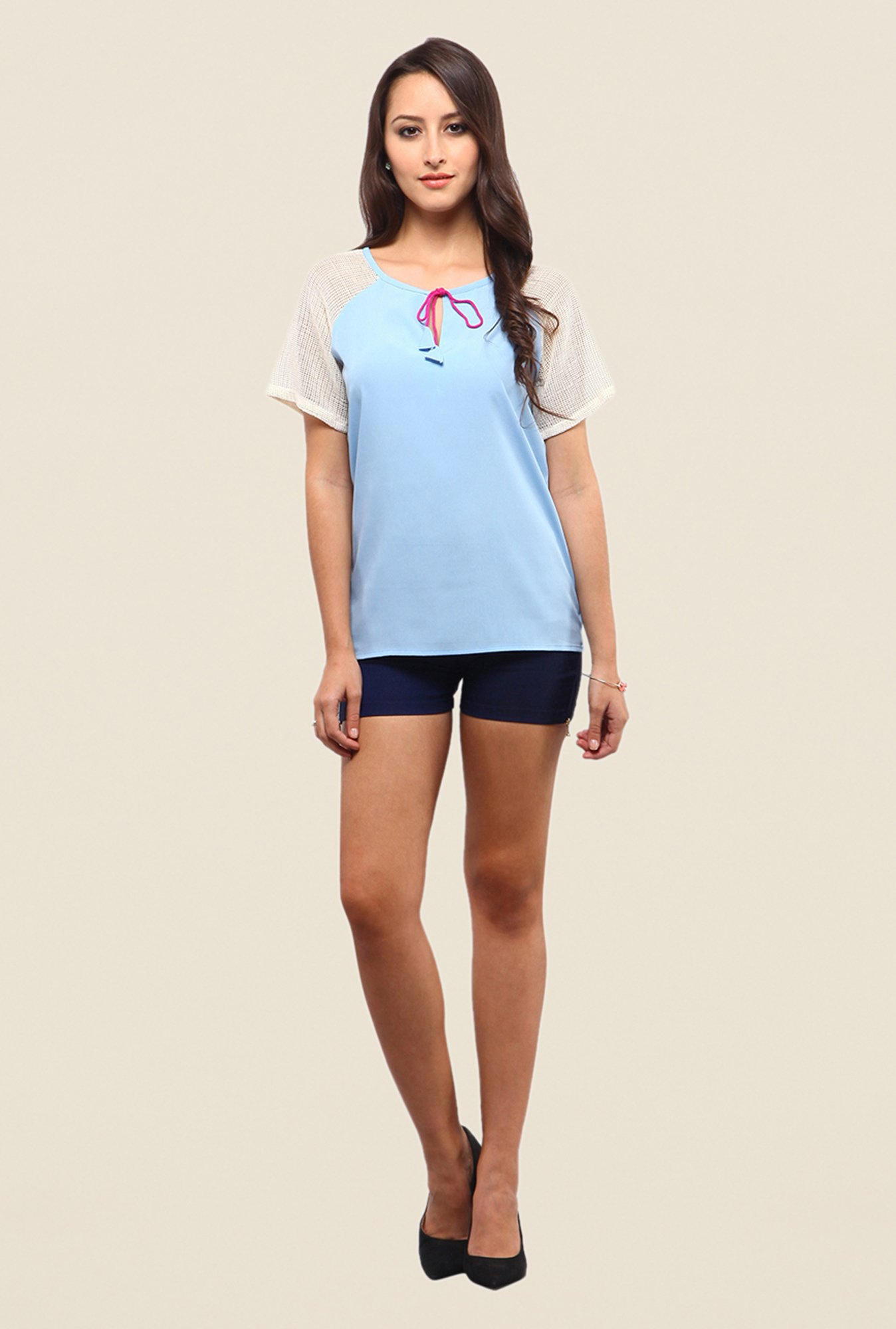 Yepme Sky Blue Rochella Short Sleeve Tie Up Top