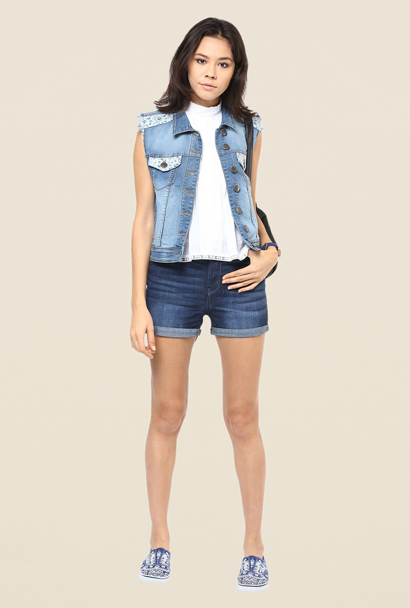 Yepme Blue Ivana Sleeveless Denim Jacket