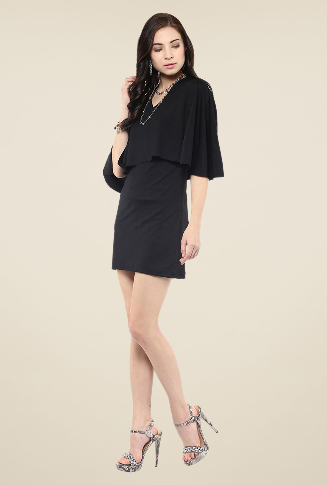 Yepme Black Short Cape Dress