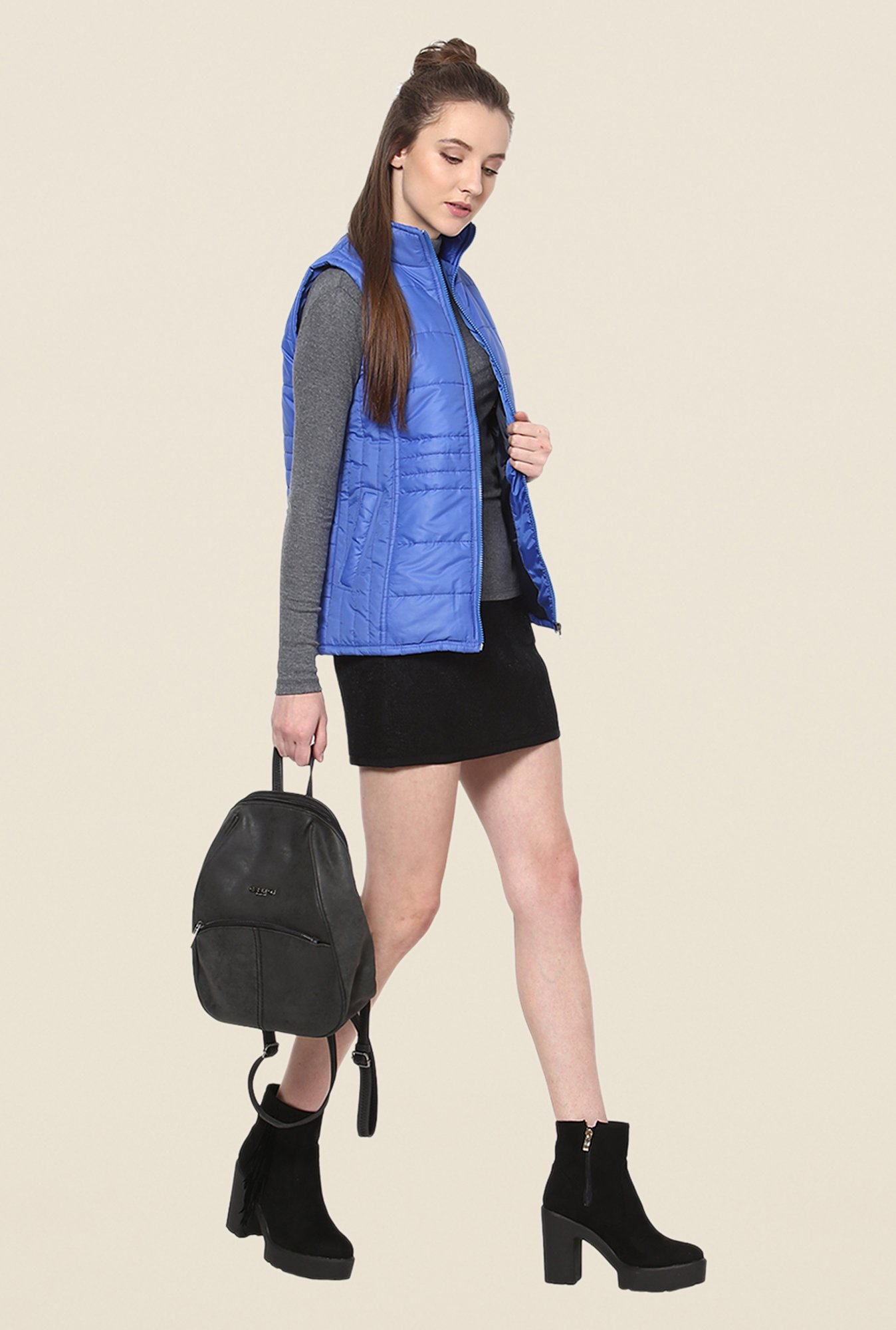 Yepme Blue Sophie Sleeveless Jacket