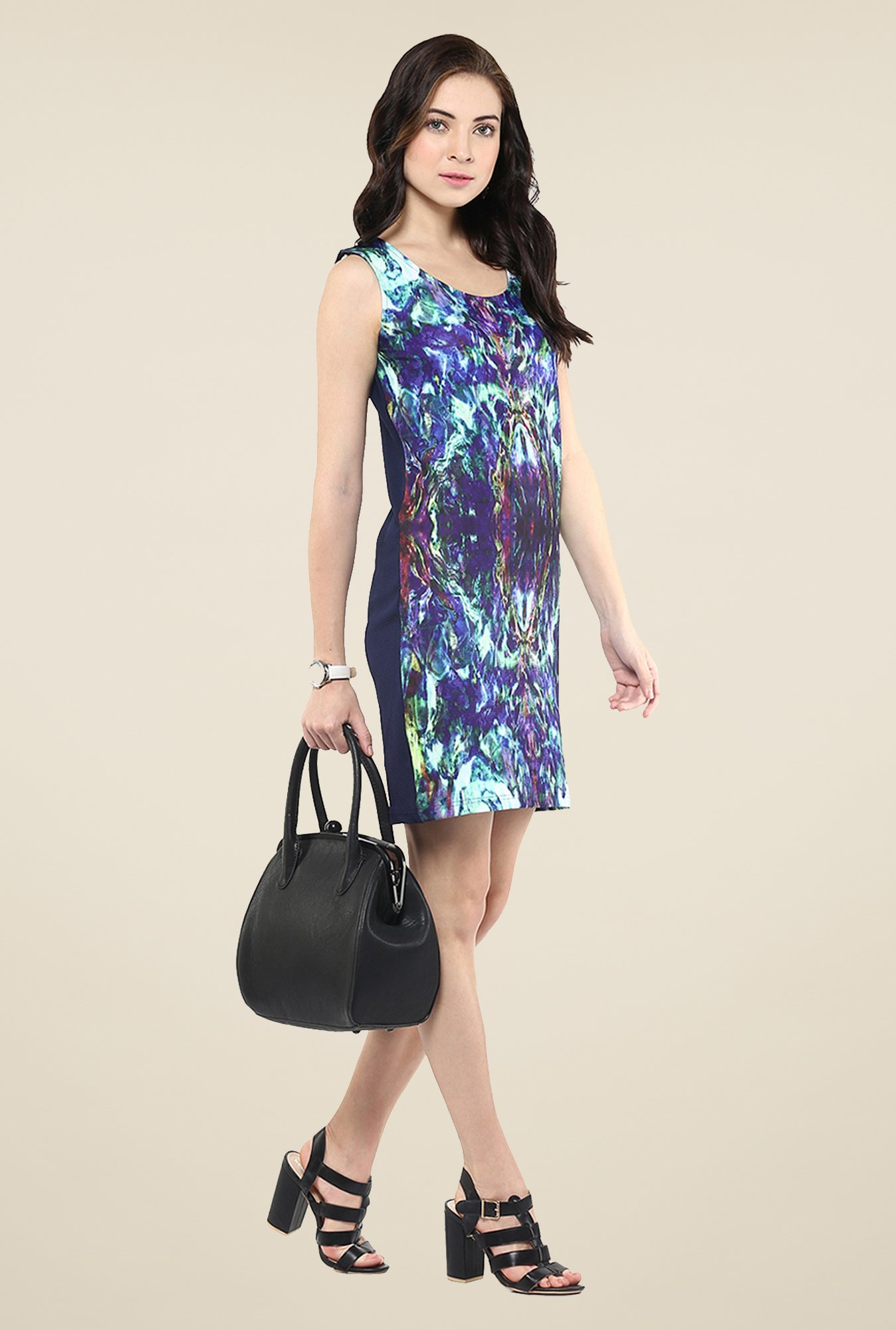 Yepme Blue Digital Print Bodycon Dress
