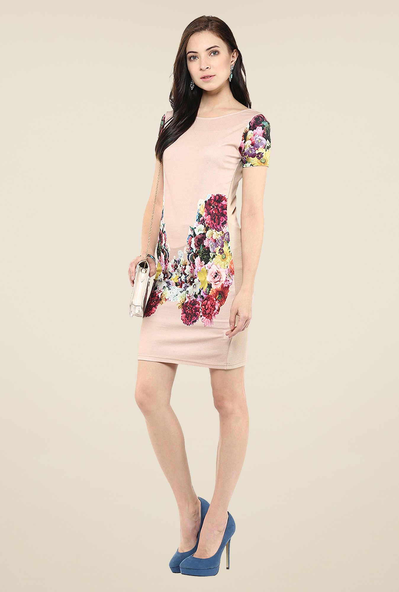 Yepme Beige Floral Print T-Shirt Dress