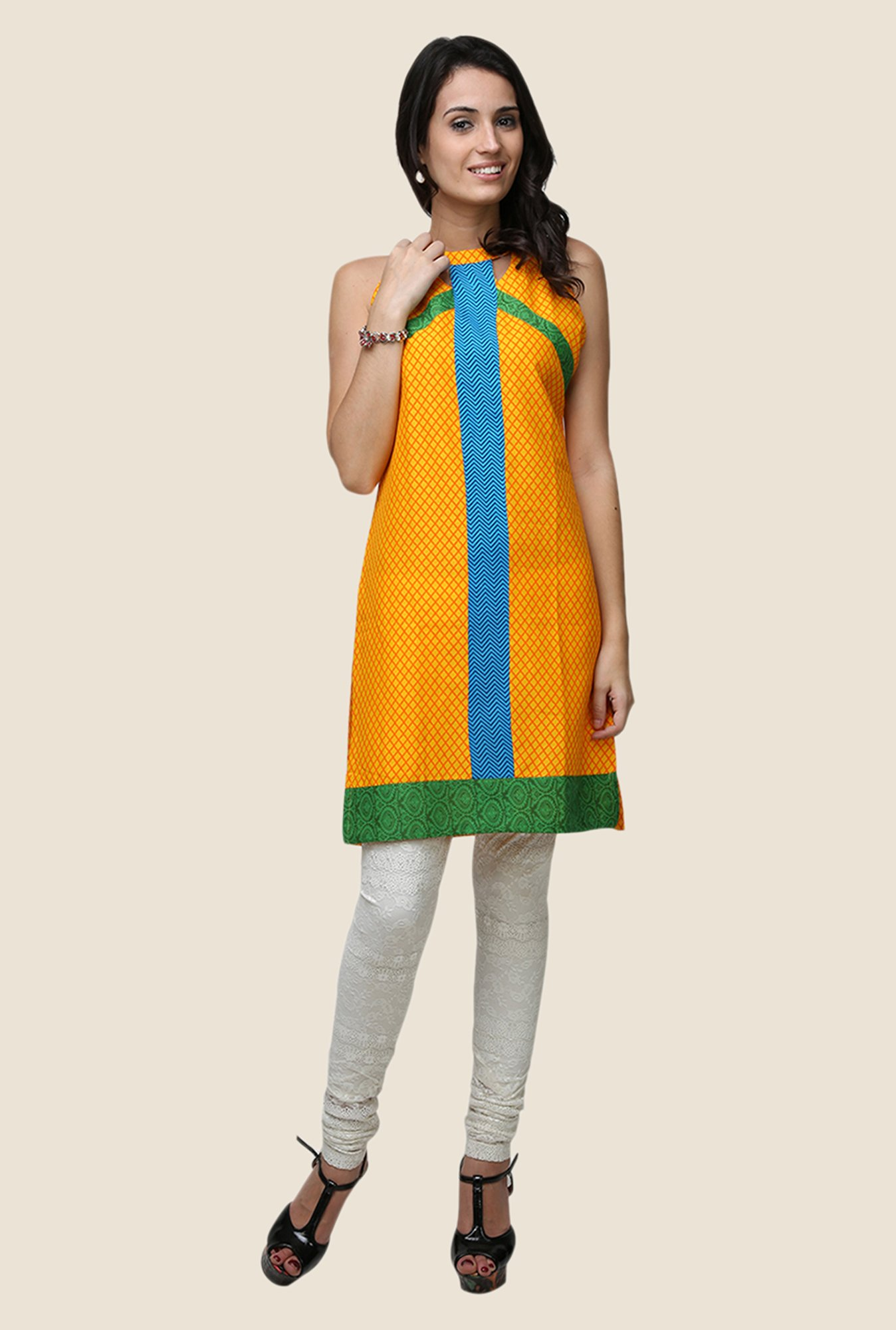 Yepme Ashley Yellow Halter Neck Kurti