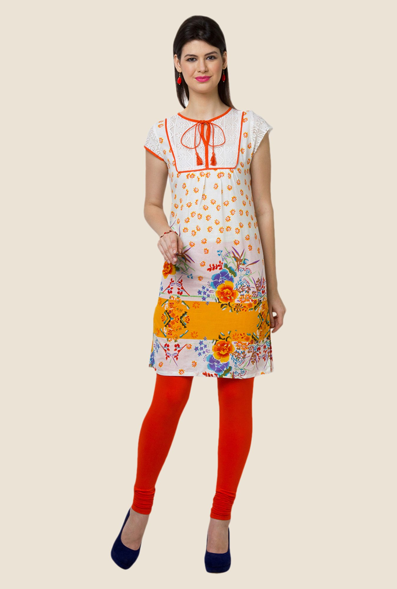 Yepme Evie White & Orange Floral Print Kurti