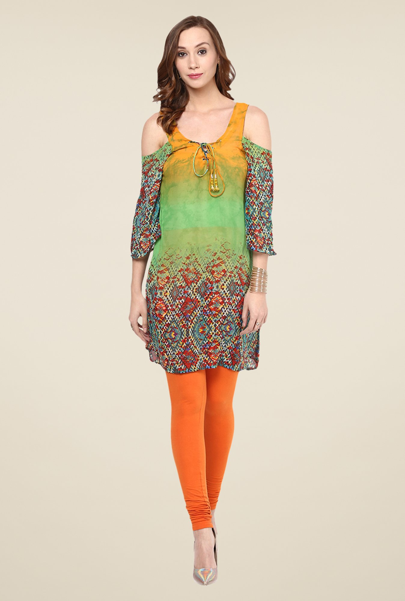 Yepme Multicolor Printed Cut-out Tunic