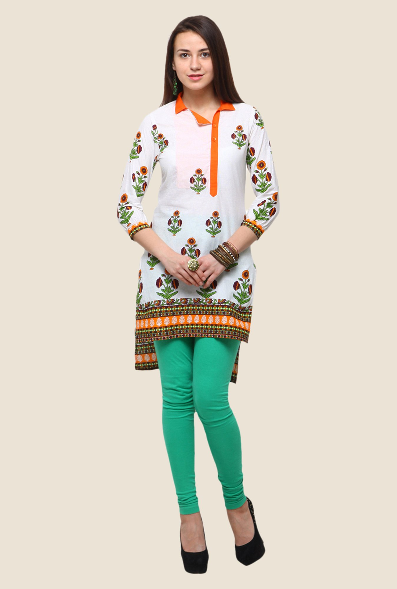 Yepme Claudia White & Orange Floral Print Kurti