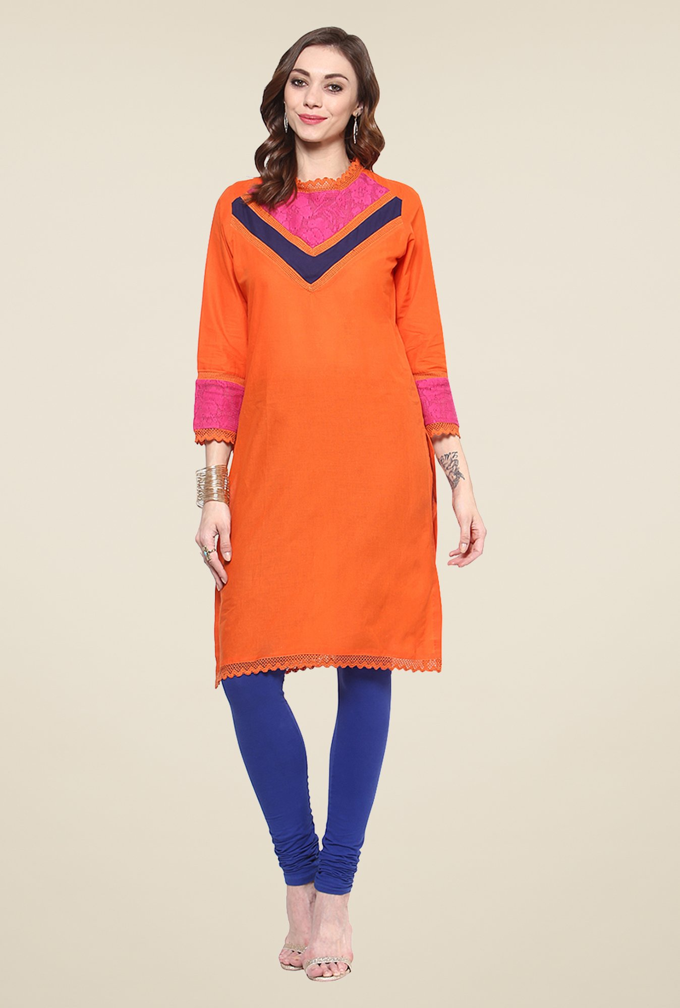 Yepme Orange Clarisa Crew Neck Lace Kurti