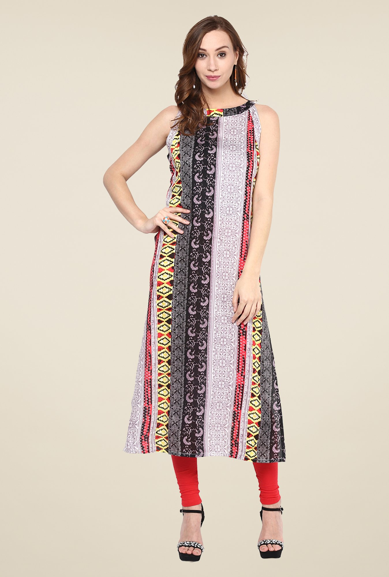 Yepme Multicolor Long Printed Boat Neck Kurti