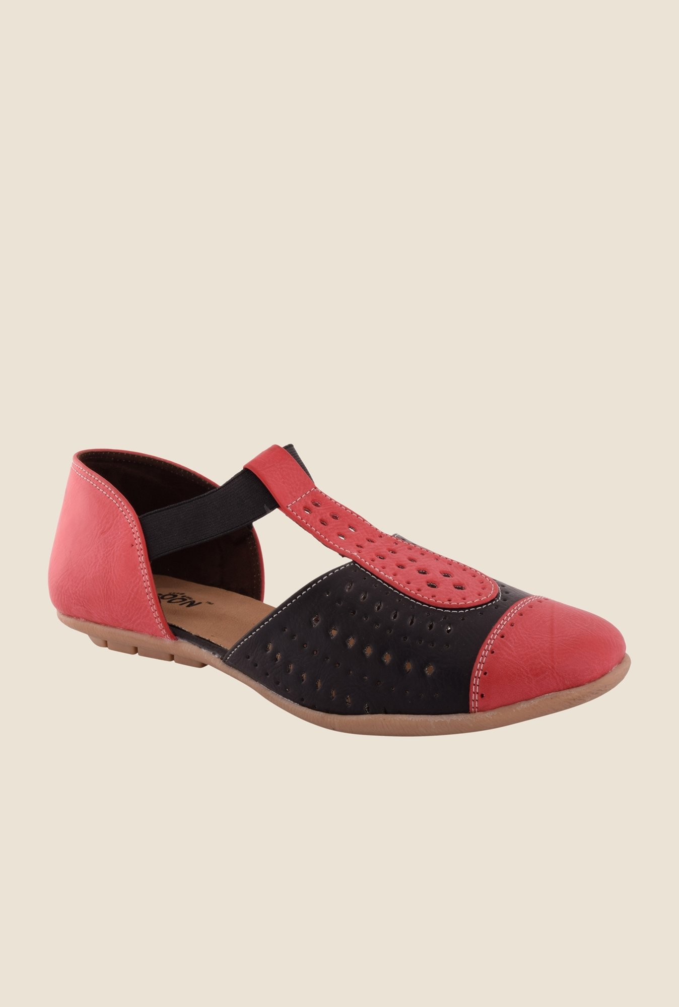 Cocoon Red & Black T-Strap D'orsay Sandals