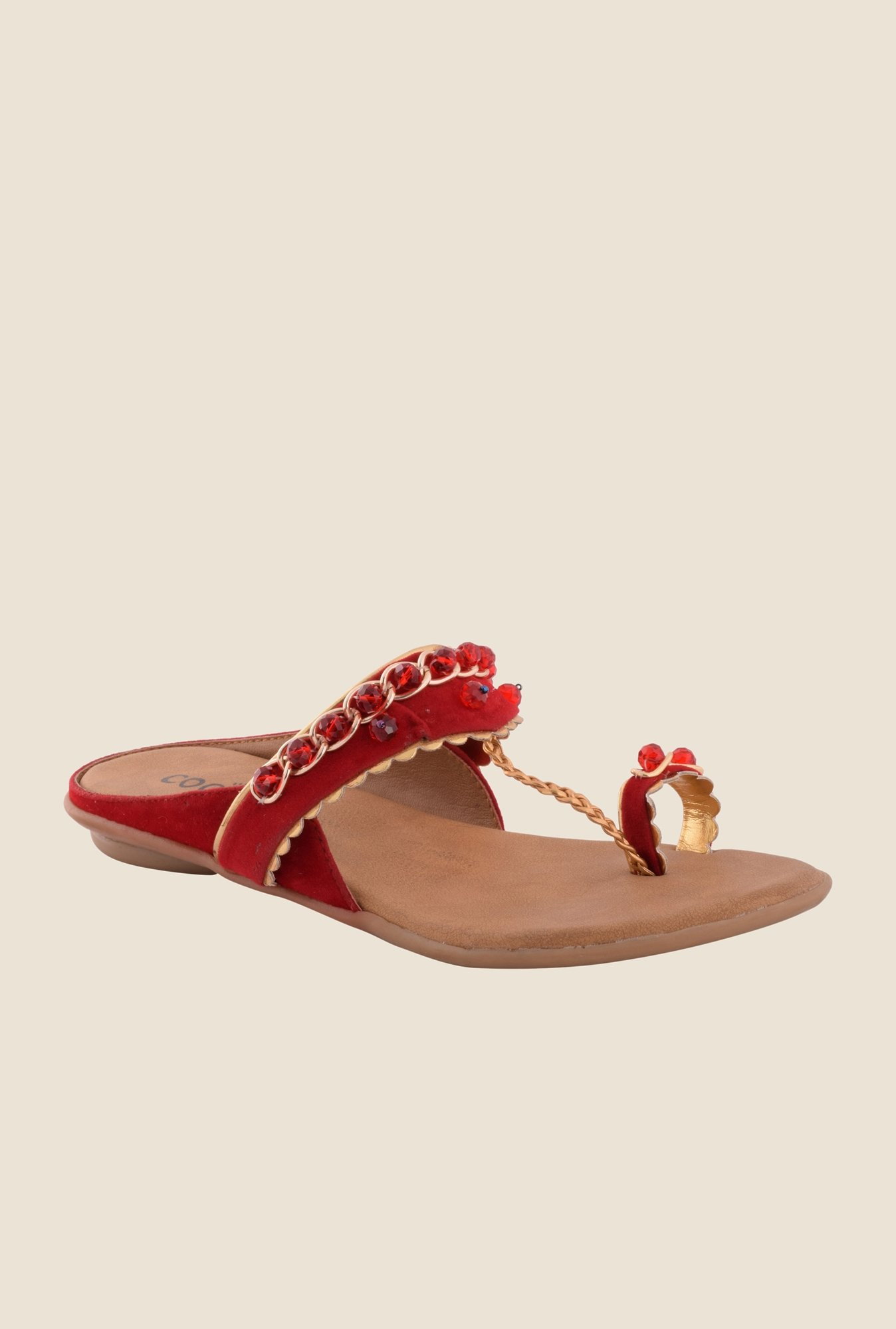 Cocoon Maroon Toe Ring Sandals