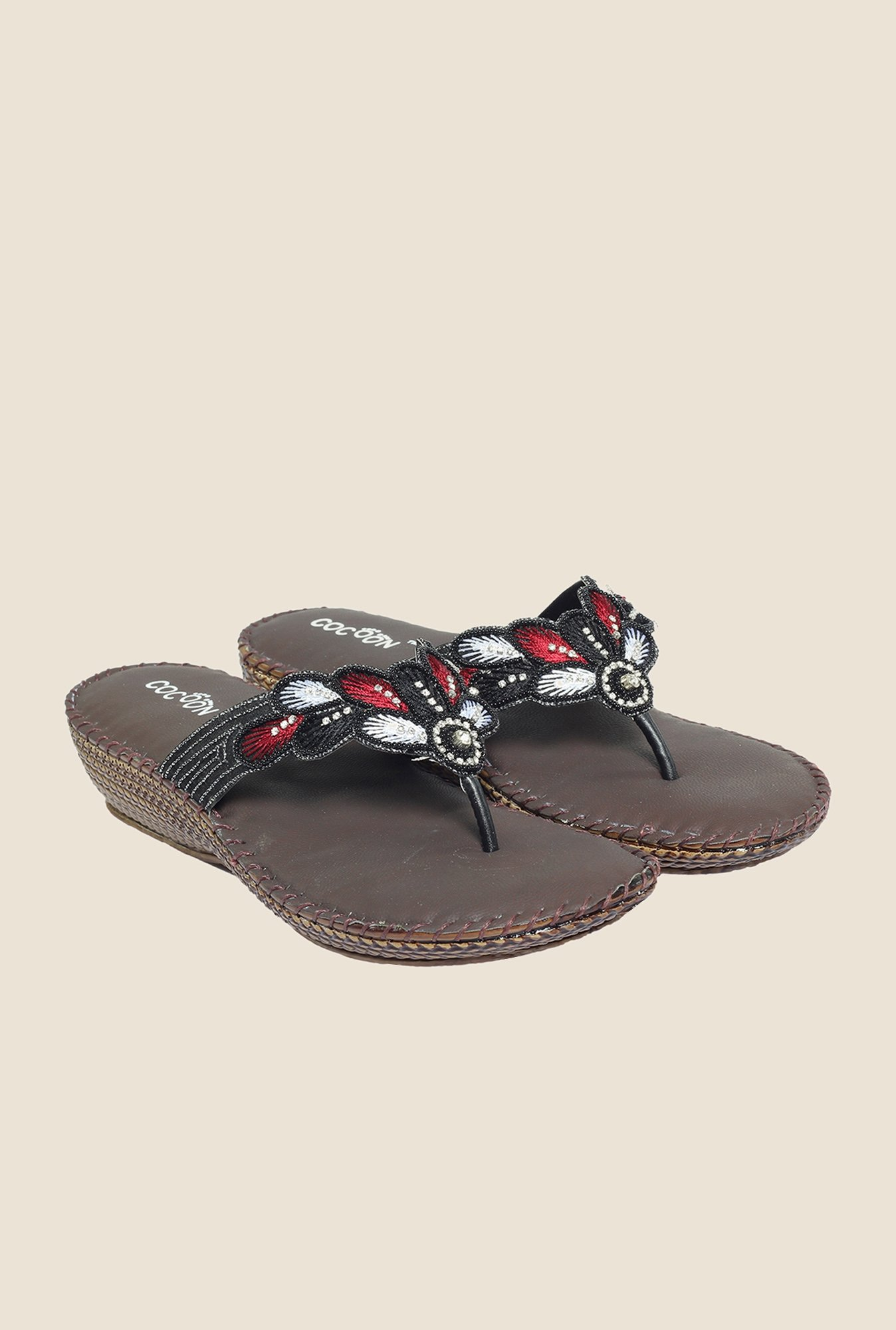 Cocoon Black & Red Thong Sandals