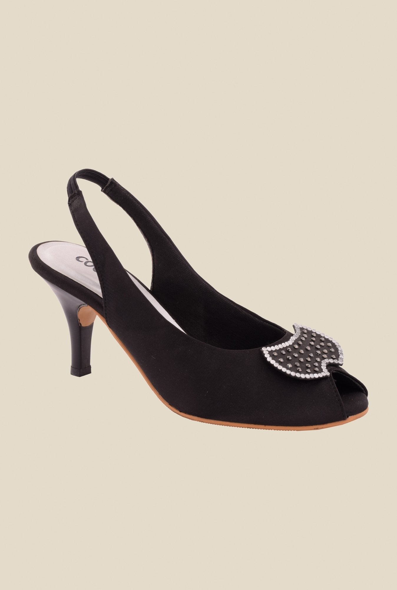 Cocoon Black Sling Back Stilettos