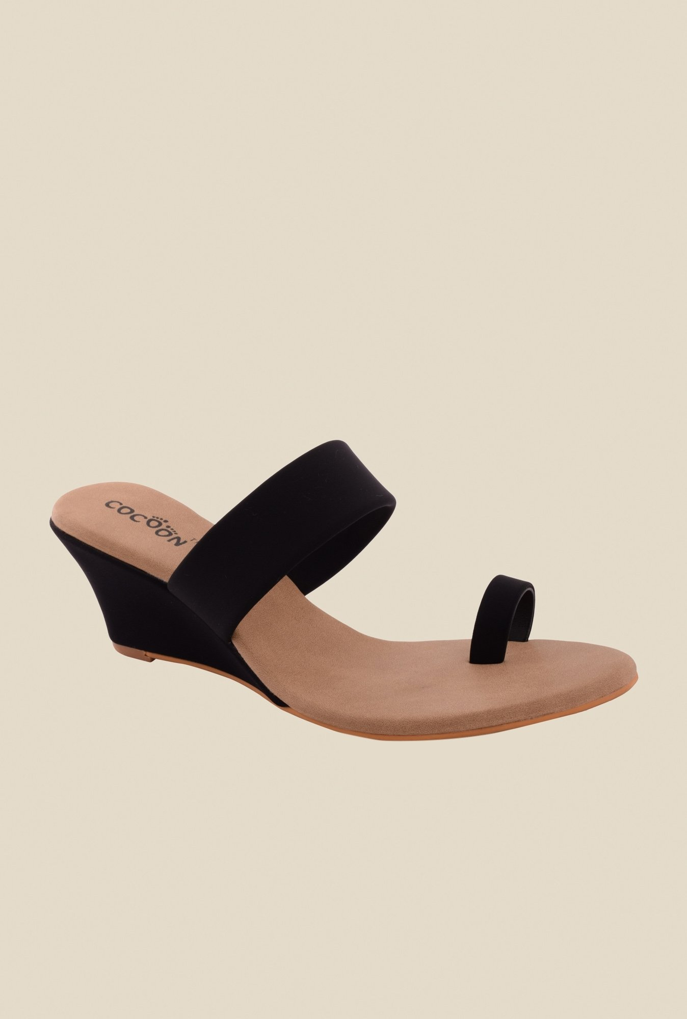 Cocoon Black Wedge Heeled Sandals