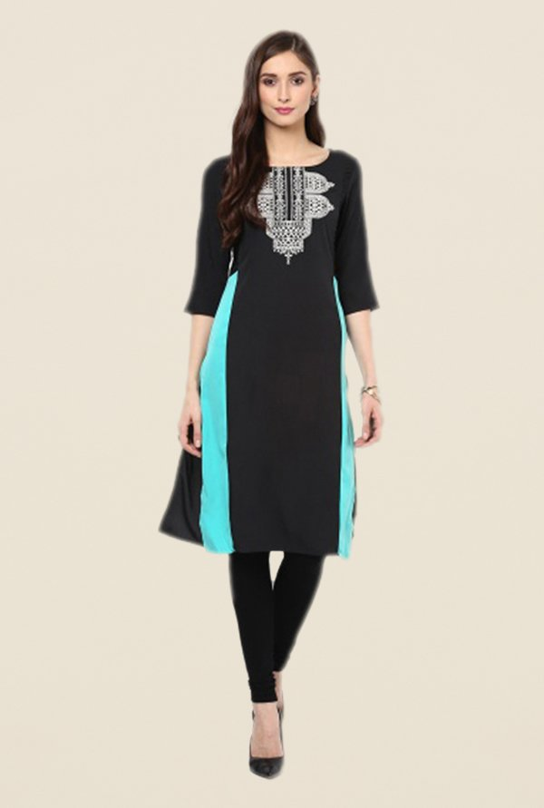 W Black Embroidered Kurta