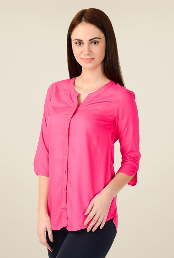 W Pink Solid Top