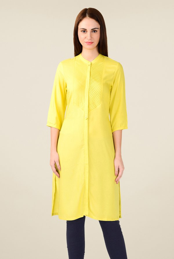 W Yellow Solid Kurta