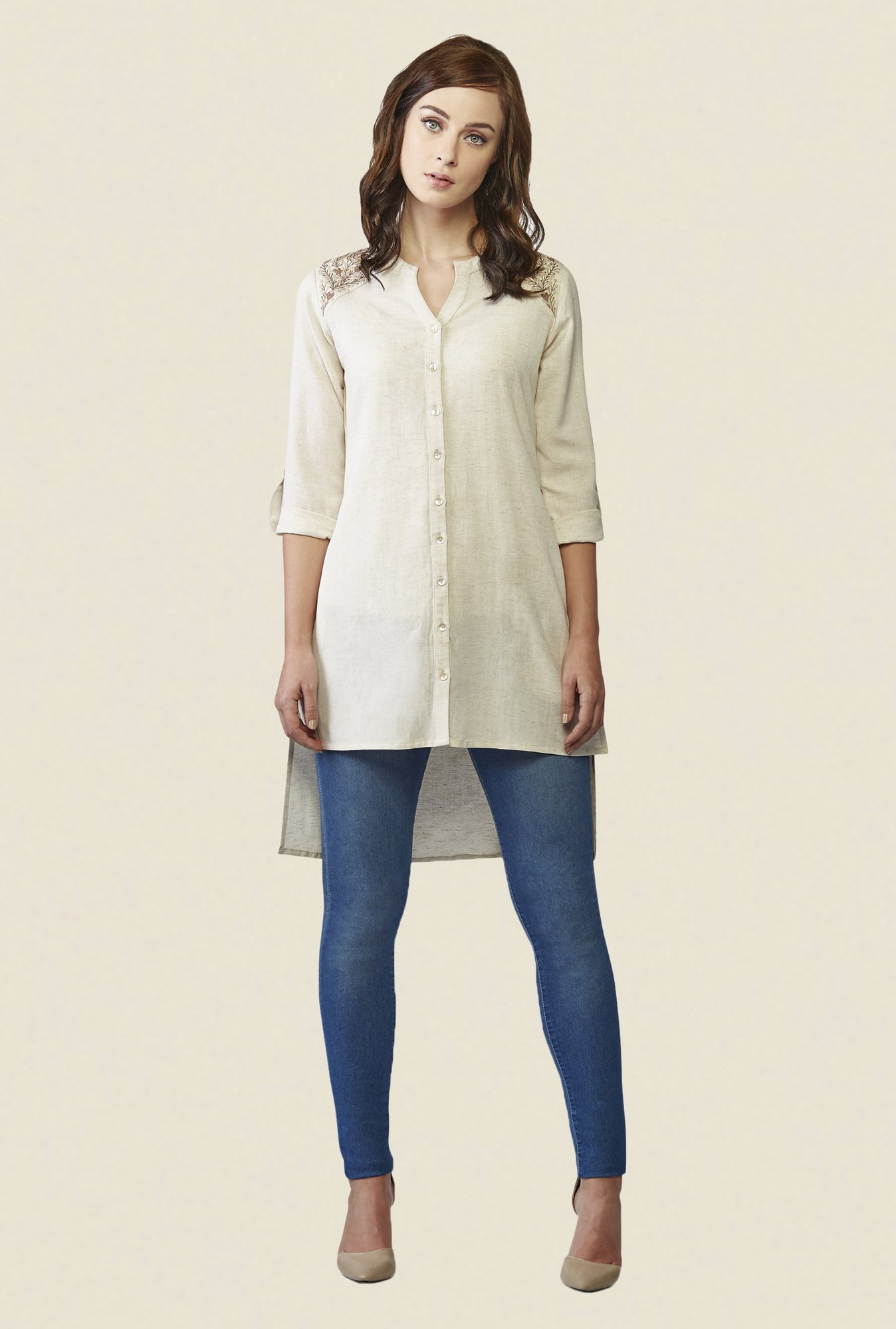 AND Beige Solid Tunic