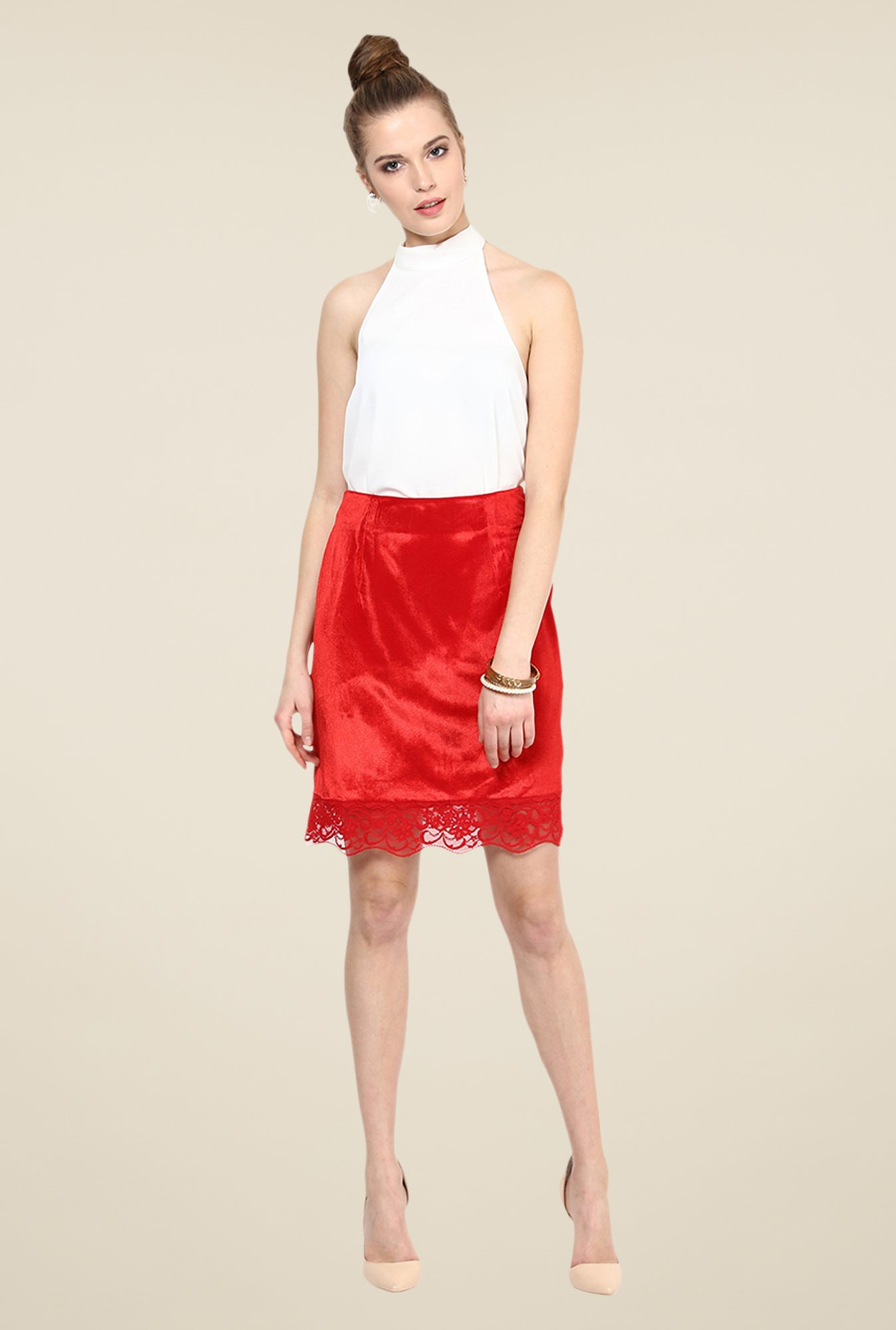 Yepme Red Liora Party Skirt