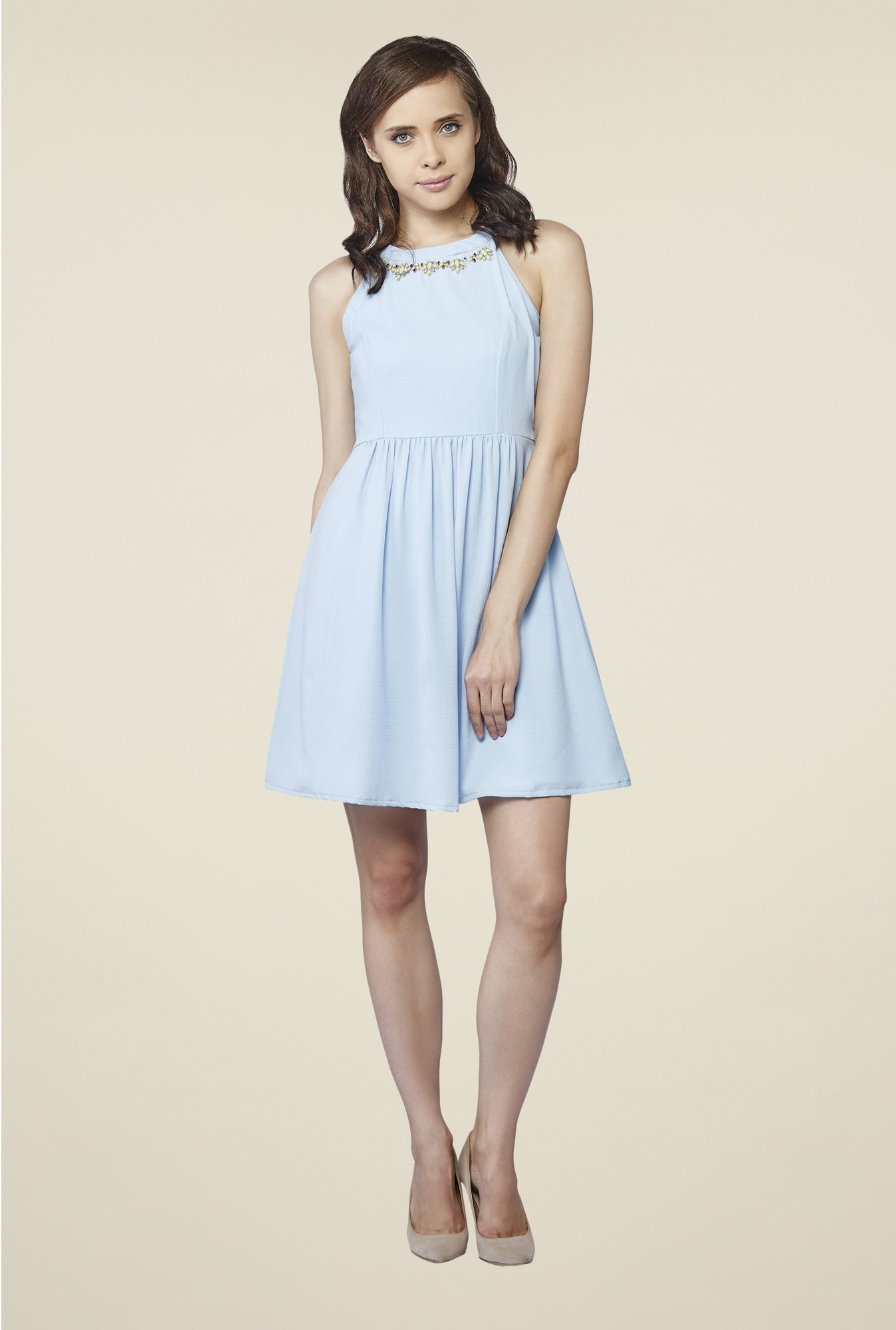 AND Blue Solid Dress