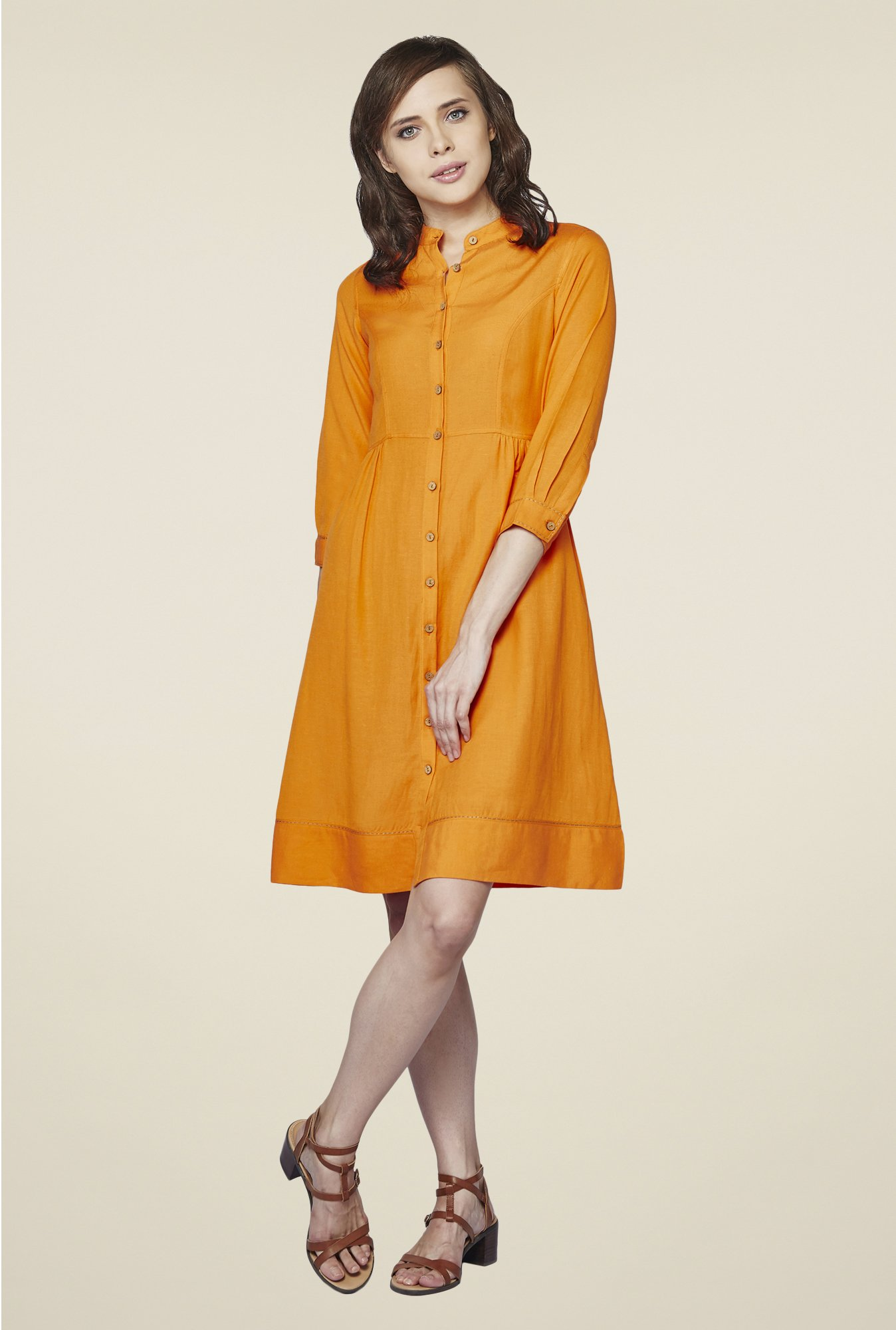 AND Orange Solid Dress
