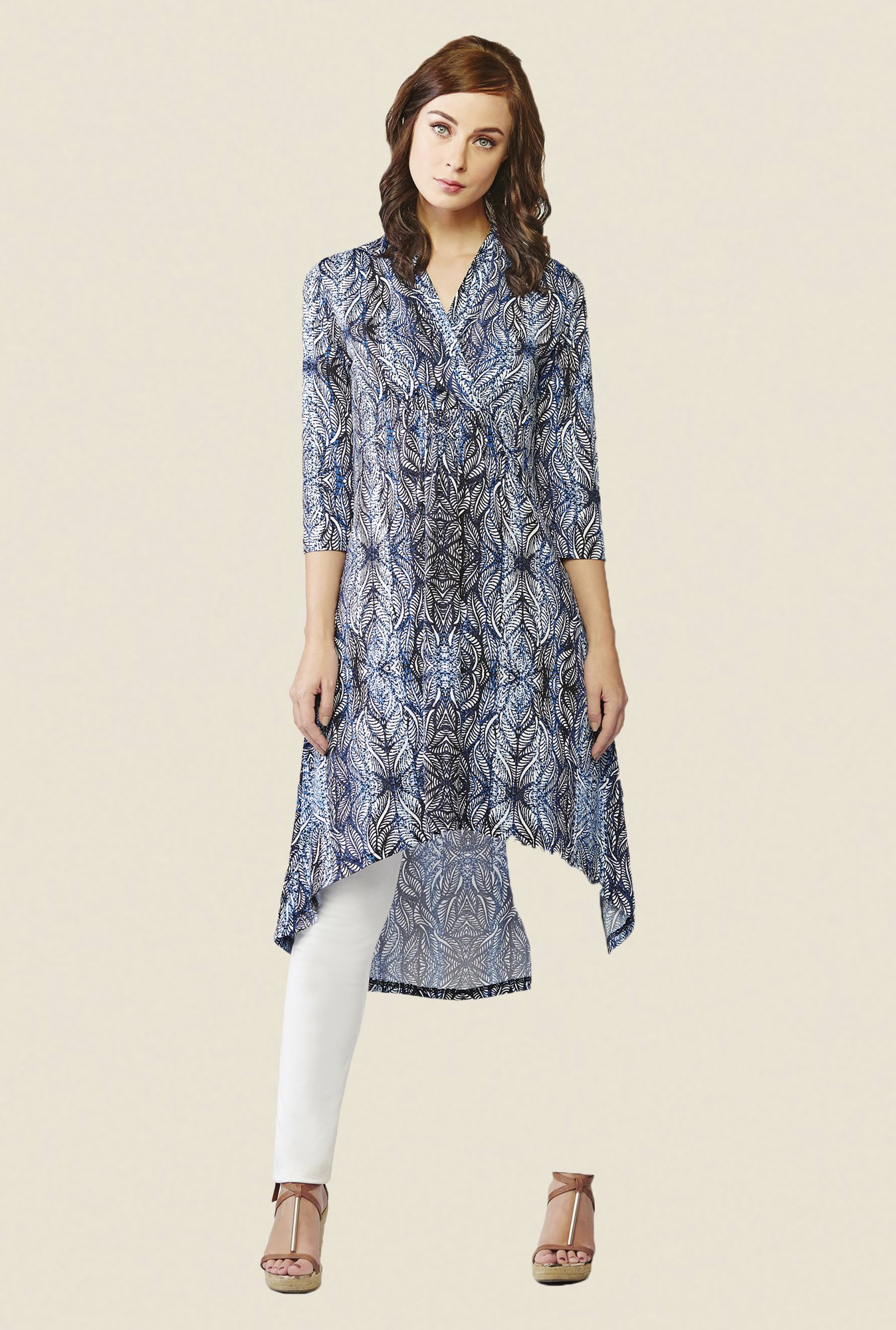 AND Blue & Black Printed Tunic