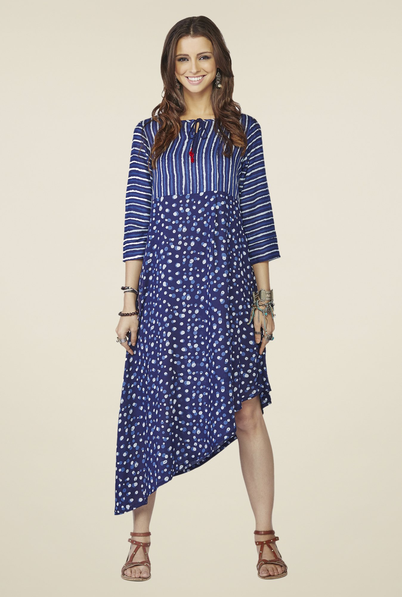Global Desi Dark Blue Printed Kurti