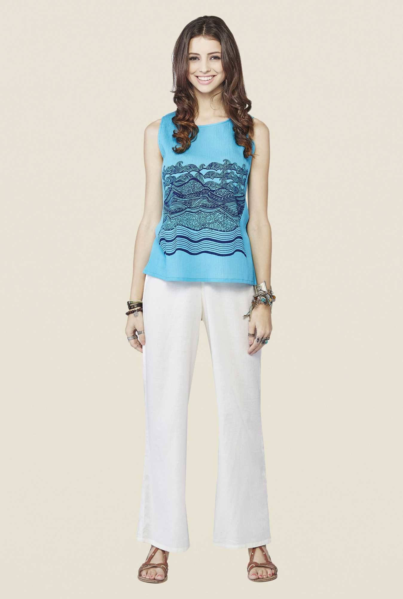 Global Desi Aqua Graphic Print Top