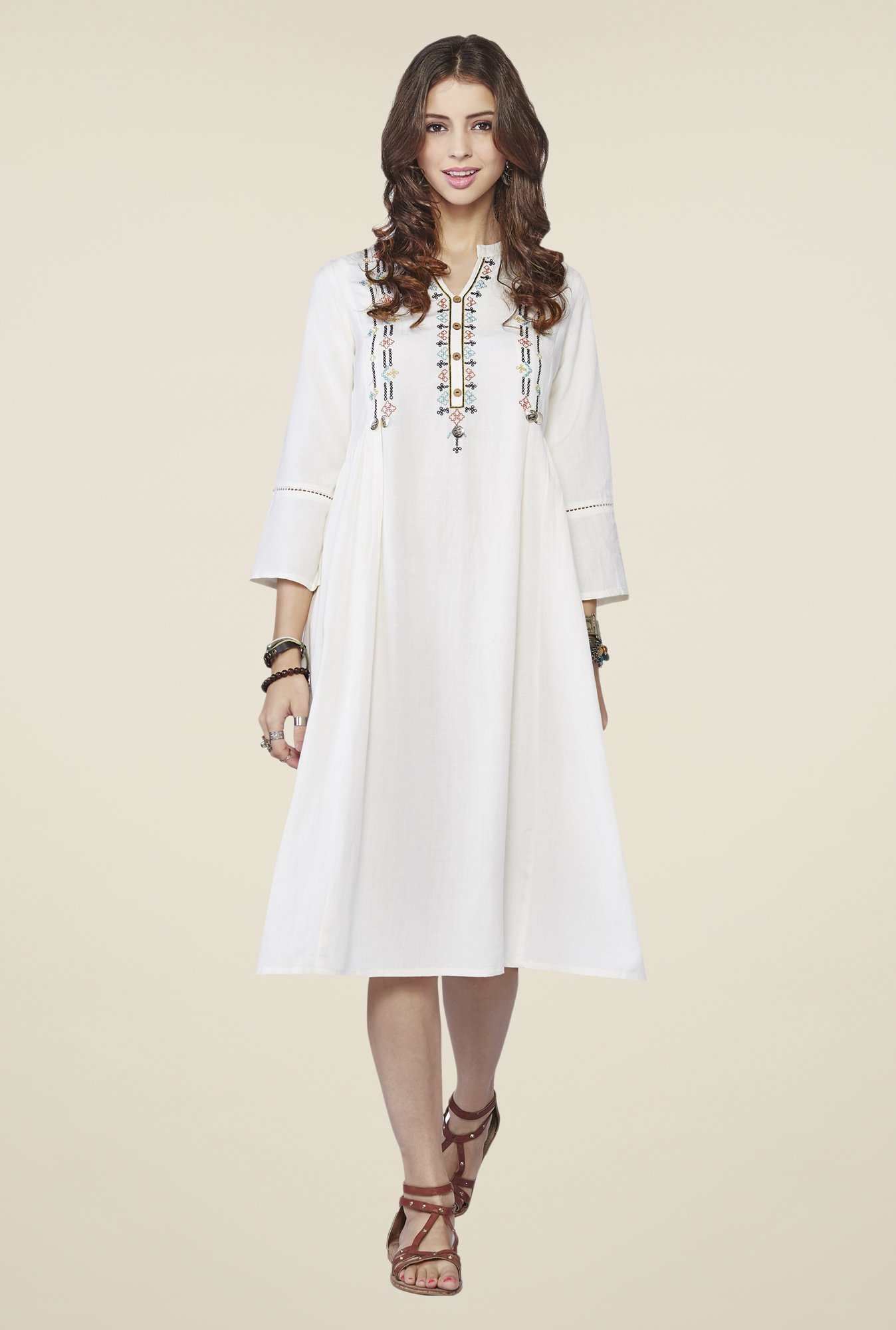 Global Desi Off-white Solid Kurta