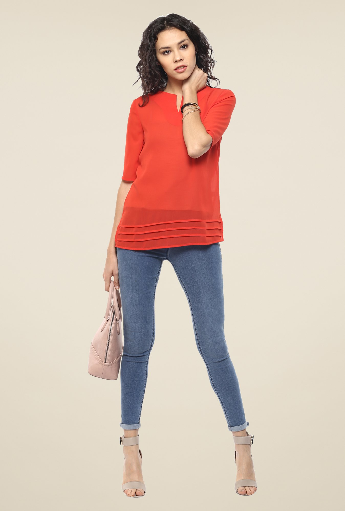 Femella Orange Notched Neck Top