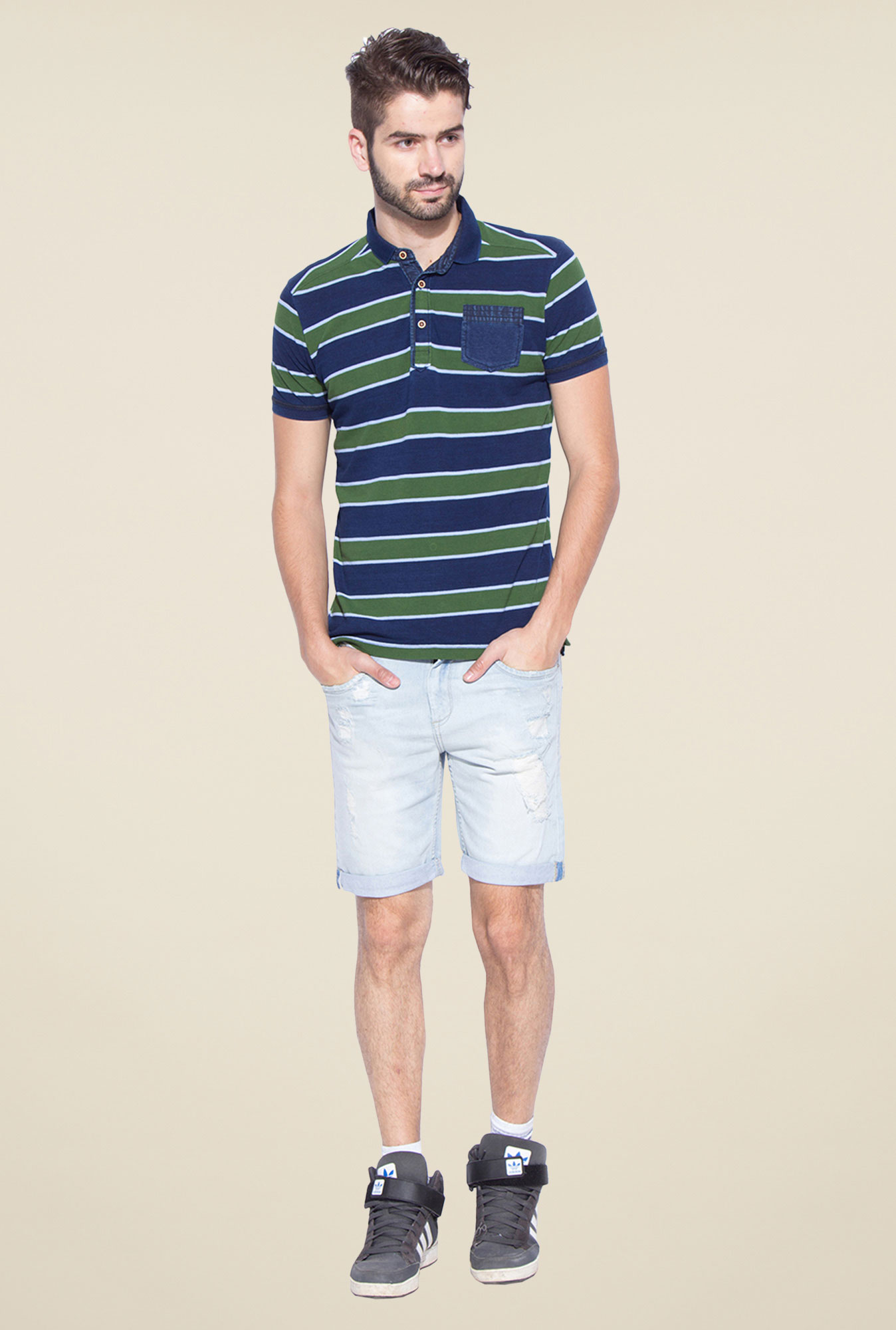 Mufti Green Slim Fit Polo T Shirt