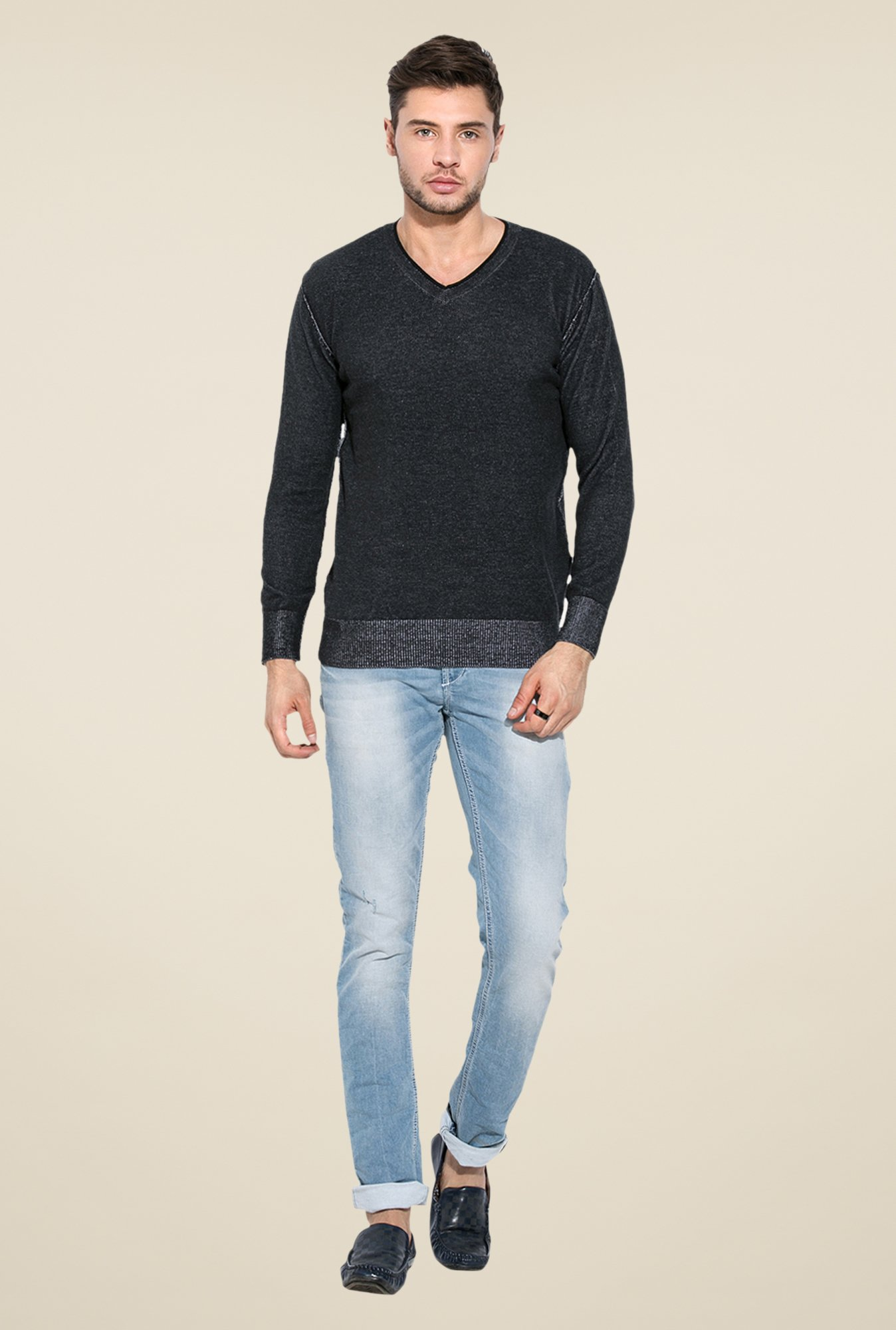 Mufti Black V-Neck Sweatshirt