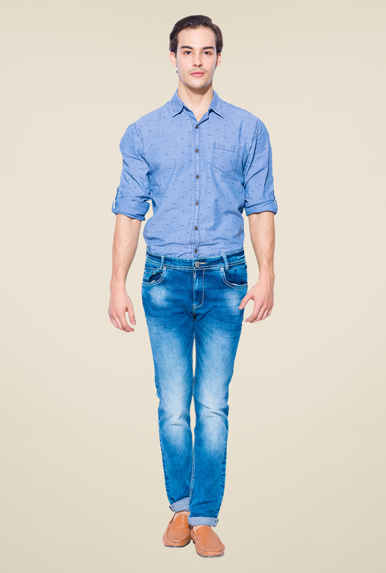 Mufti Blue Heavily Washed Jeans