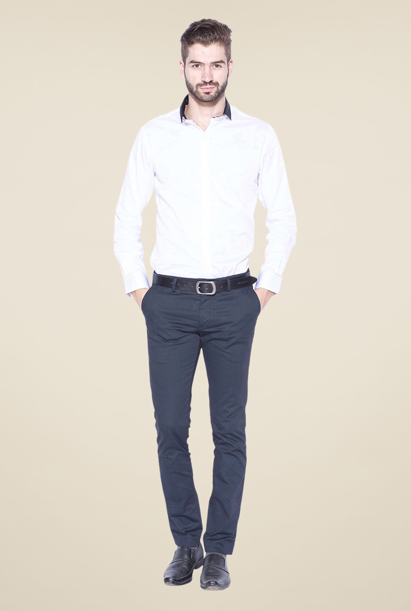 Mufti White & Black Solid Shirt