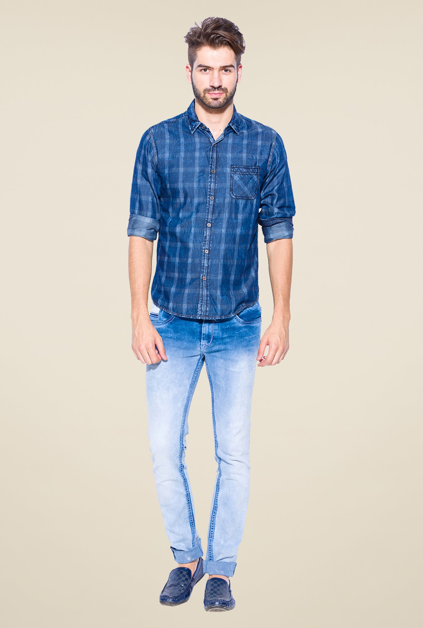 Mufti Dark Blue Checked Shirt