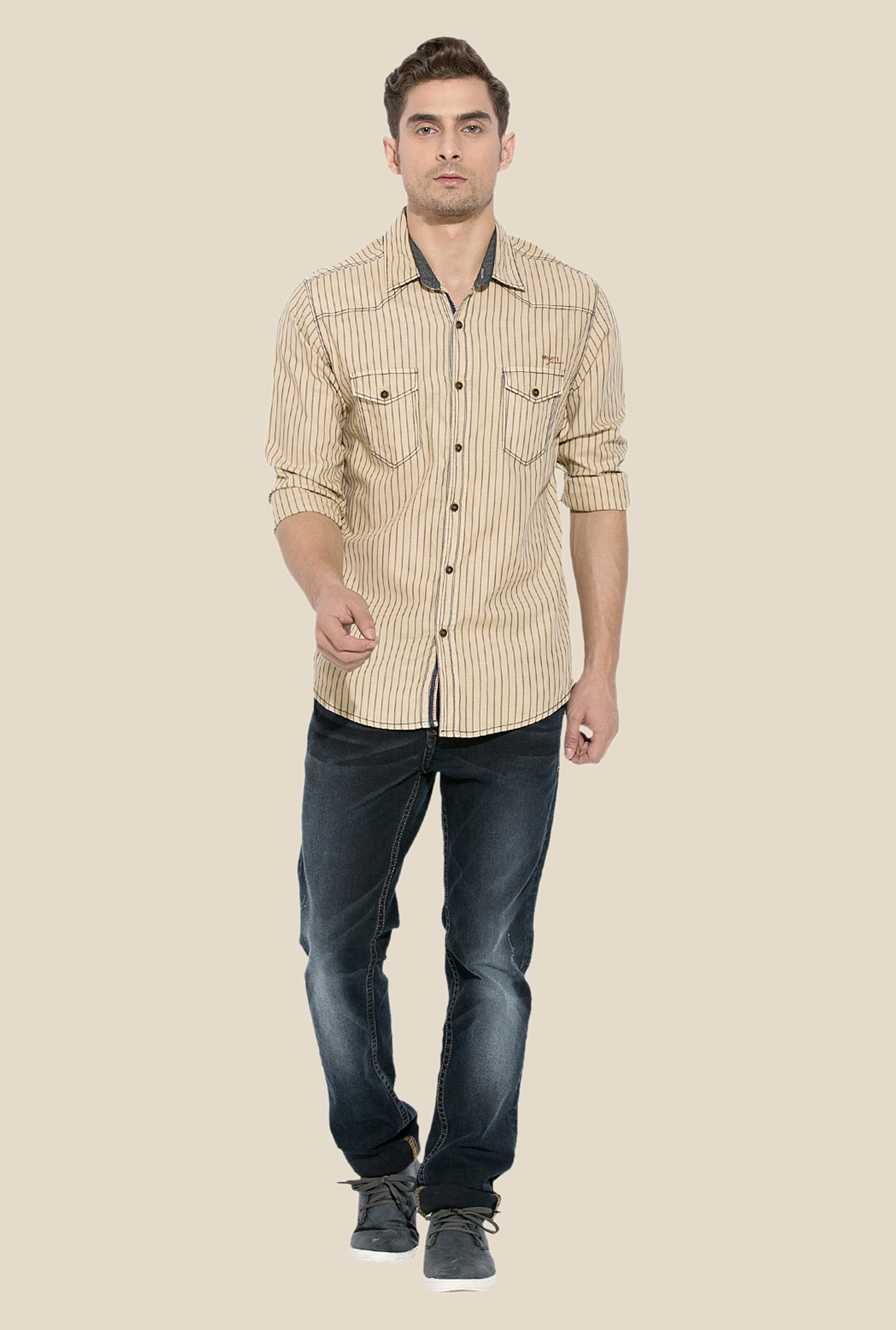 Mufti Khaki Striped Shirt
