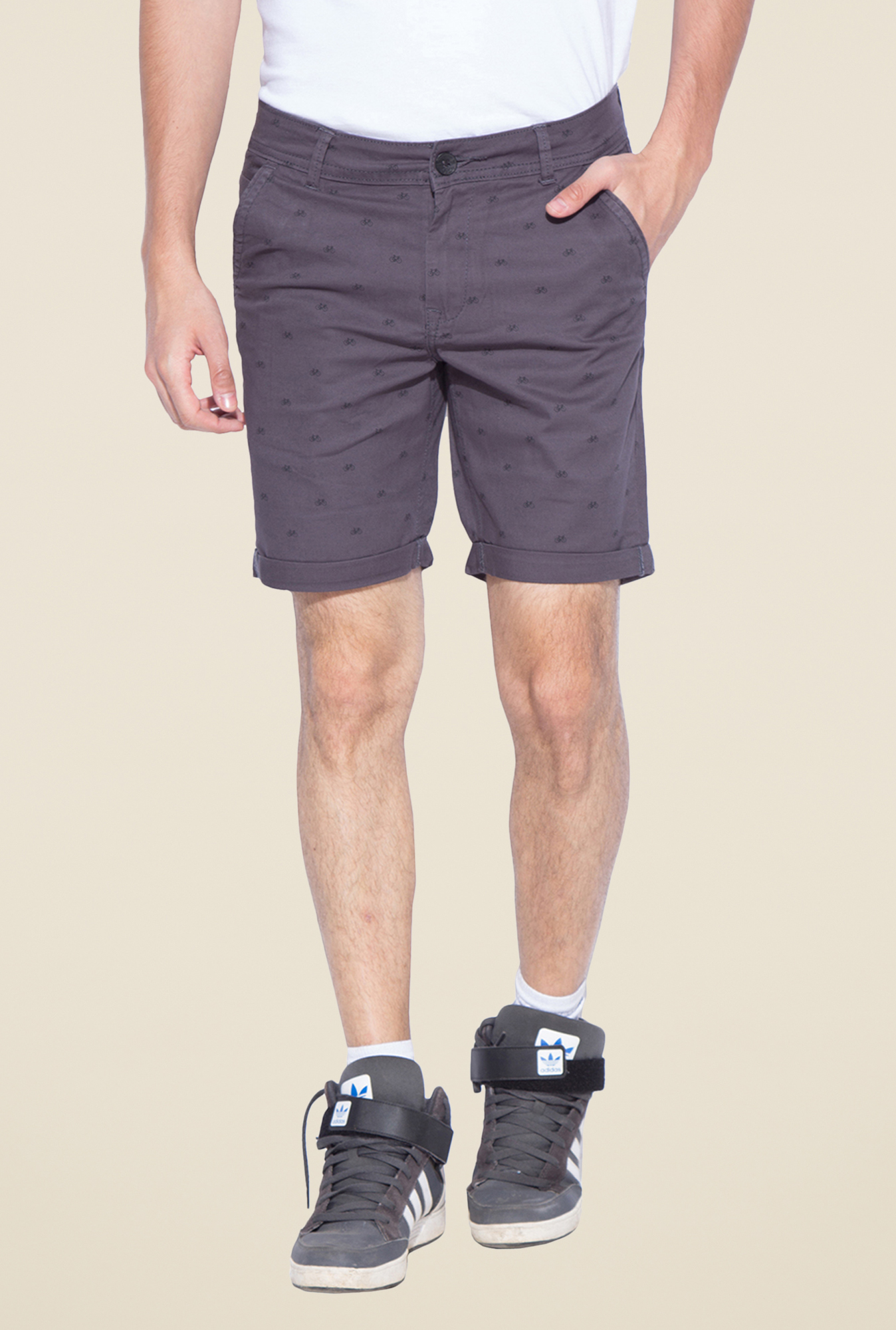 Mufti Grey Printed Shorts