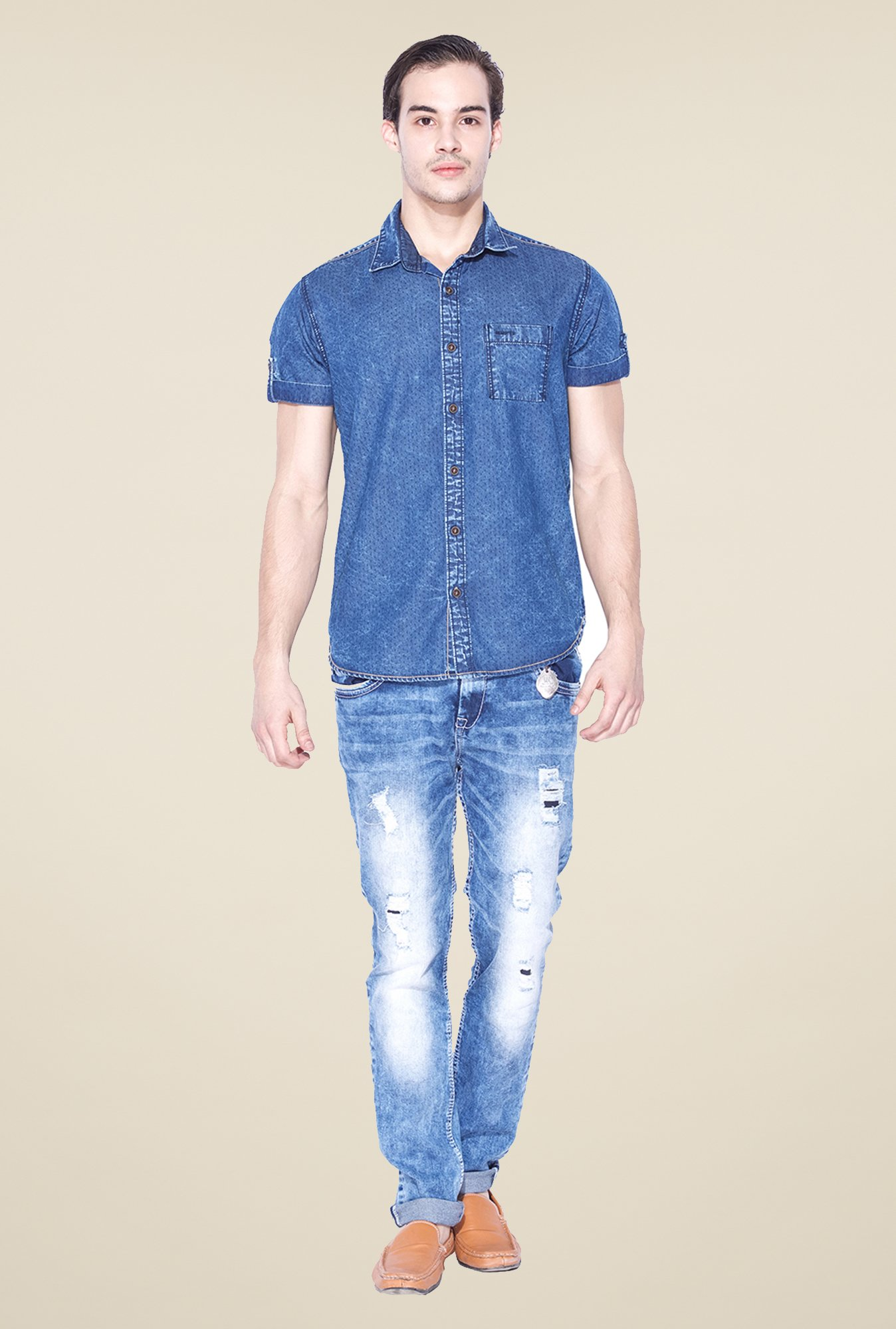 Mufti Dark Blue Printed Shirt