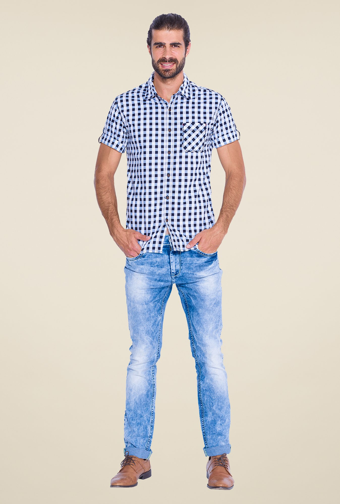 Mufti Navy & White Checked Shirt