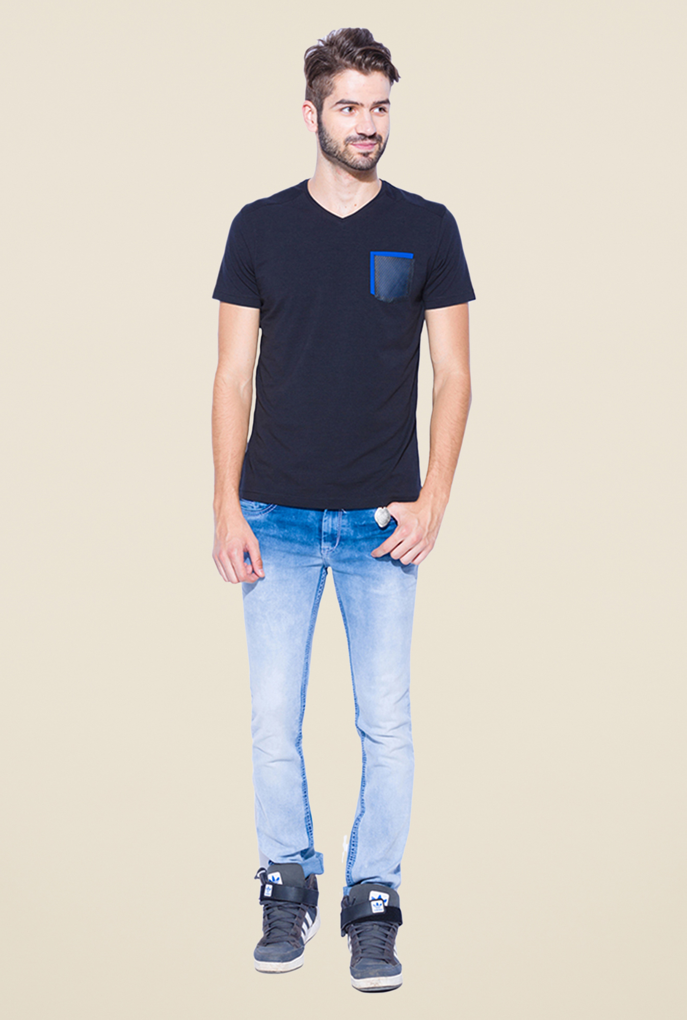 Mufti Navy Slim Fit V Neck T Shirt