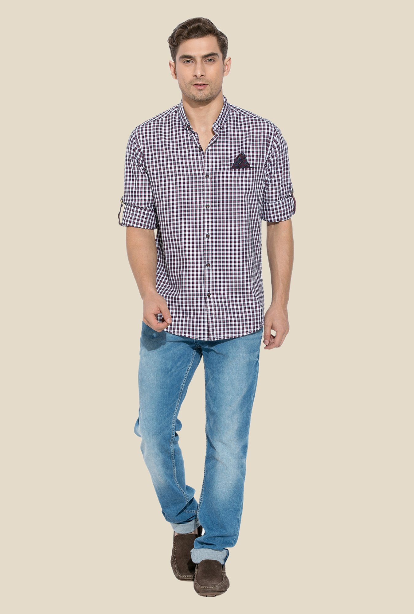 Mufti Red Checked Cotton Shirt