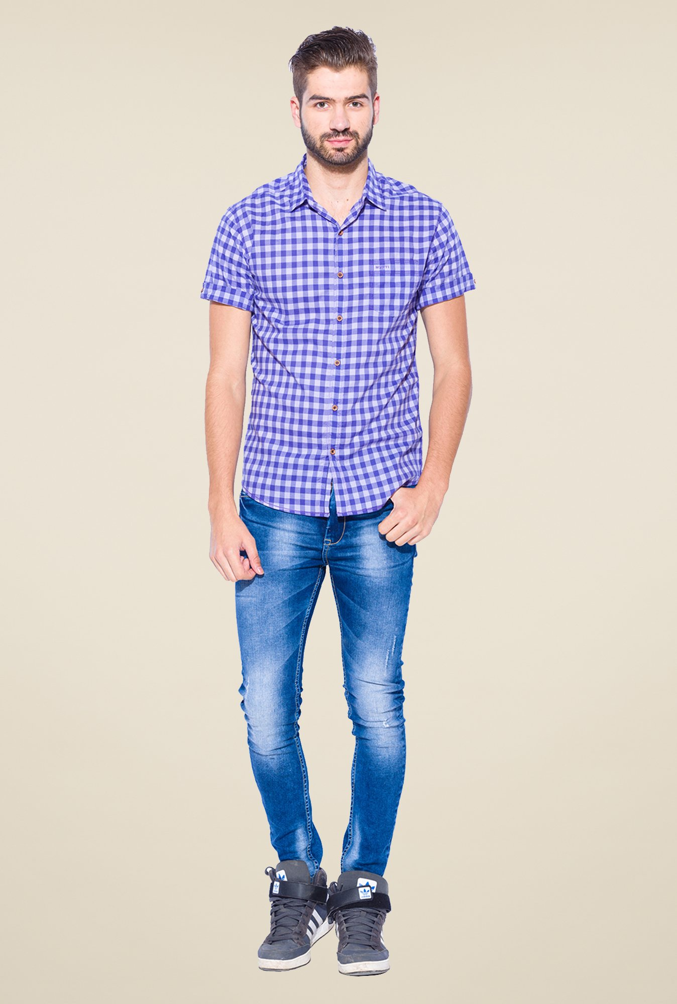 Mufti Blue Checked Shirt