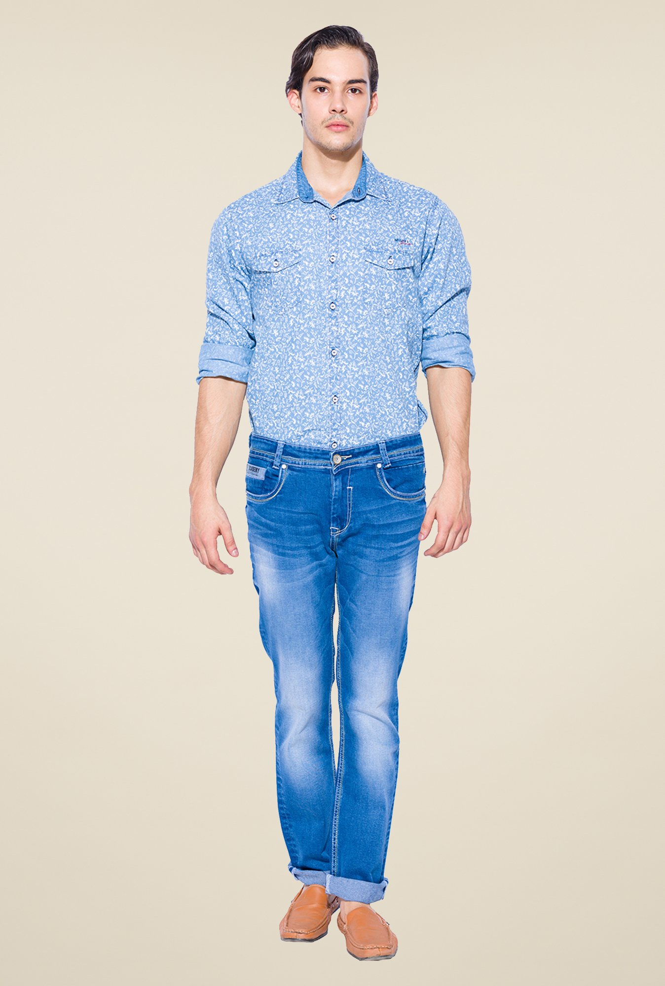 Mufti Blue Straight Fit Cotton Jeans